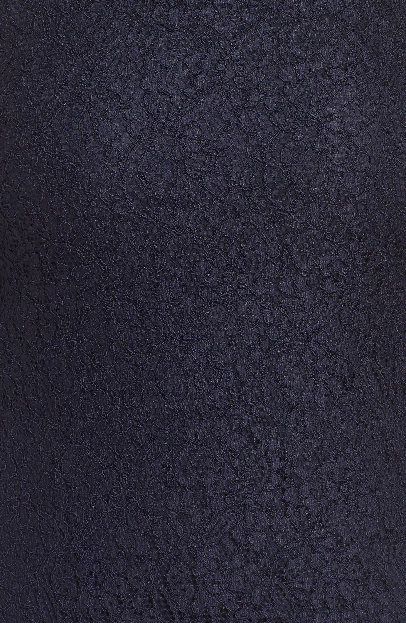 Lace Overlay Sheath Dress,                             Alternate thumbnail 5, color,                             Navy