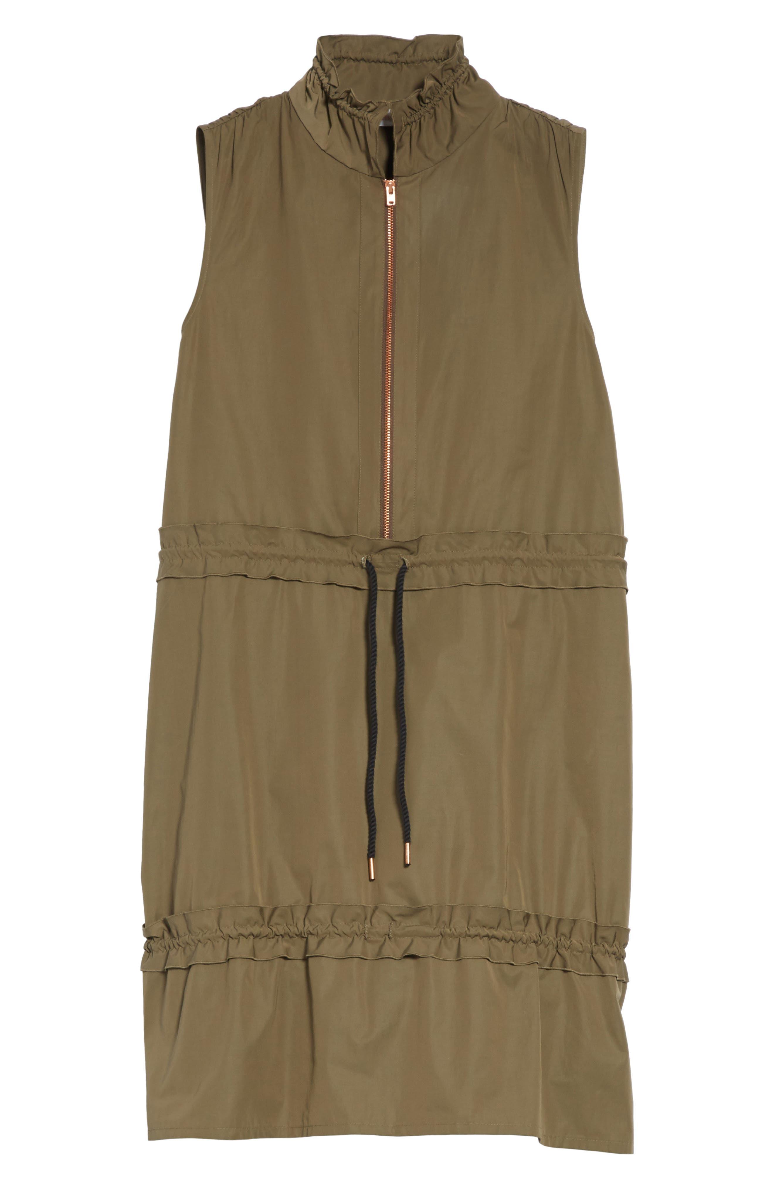 Cinch Waist Army Dress,                             Alternate thumbnail 6, color,                             Cacao Brown