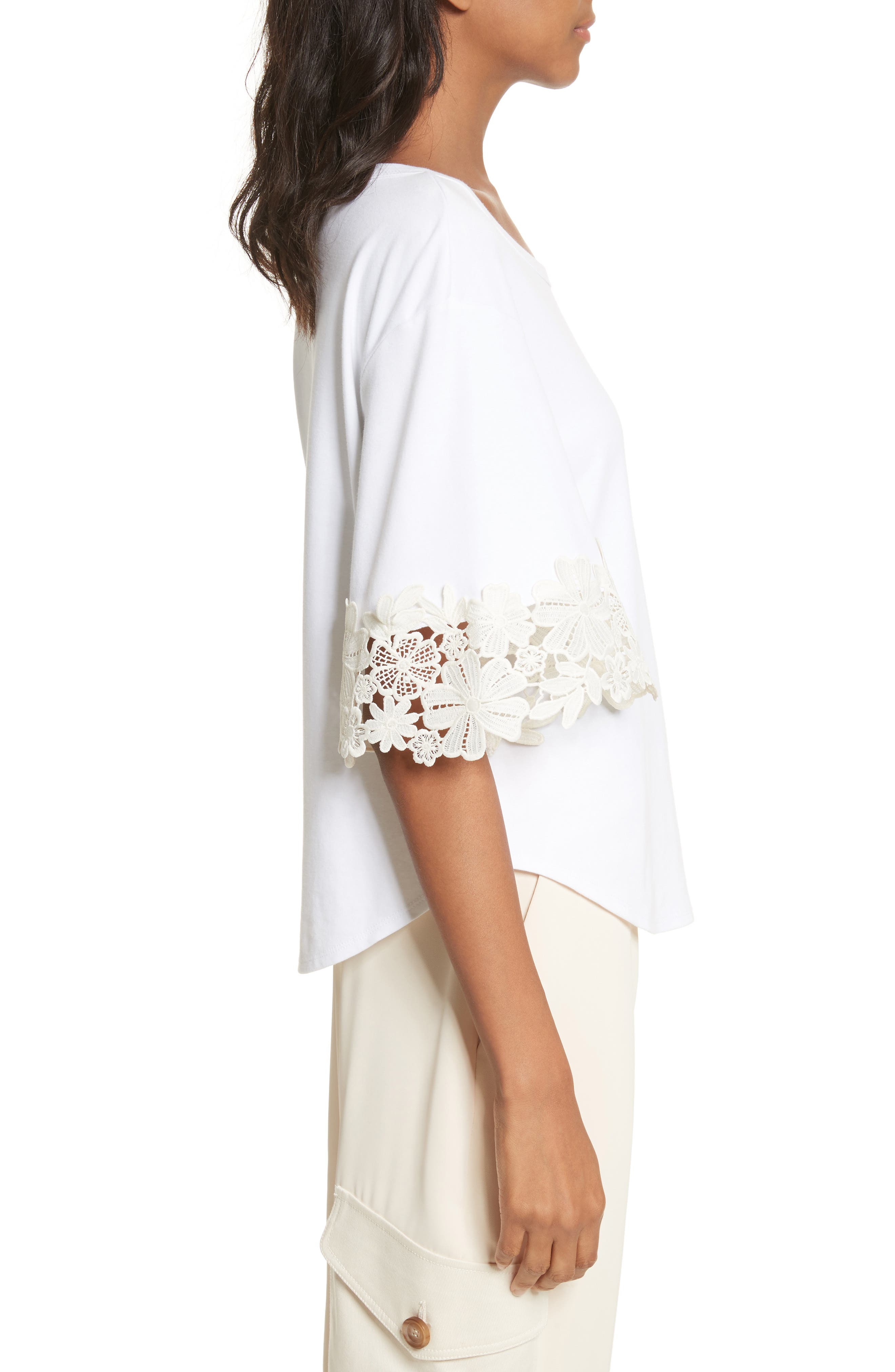 Lace Cuff Tee,                             Alternate thumbnail 3, color,                             White