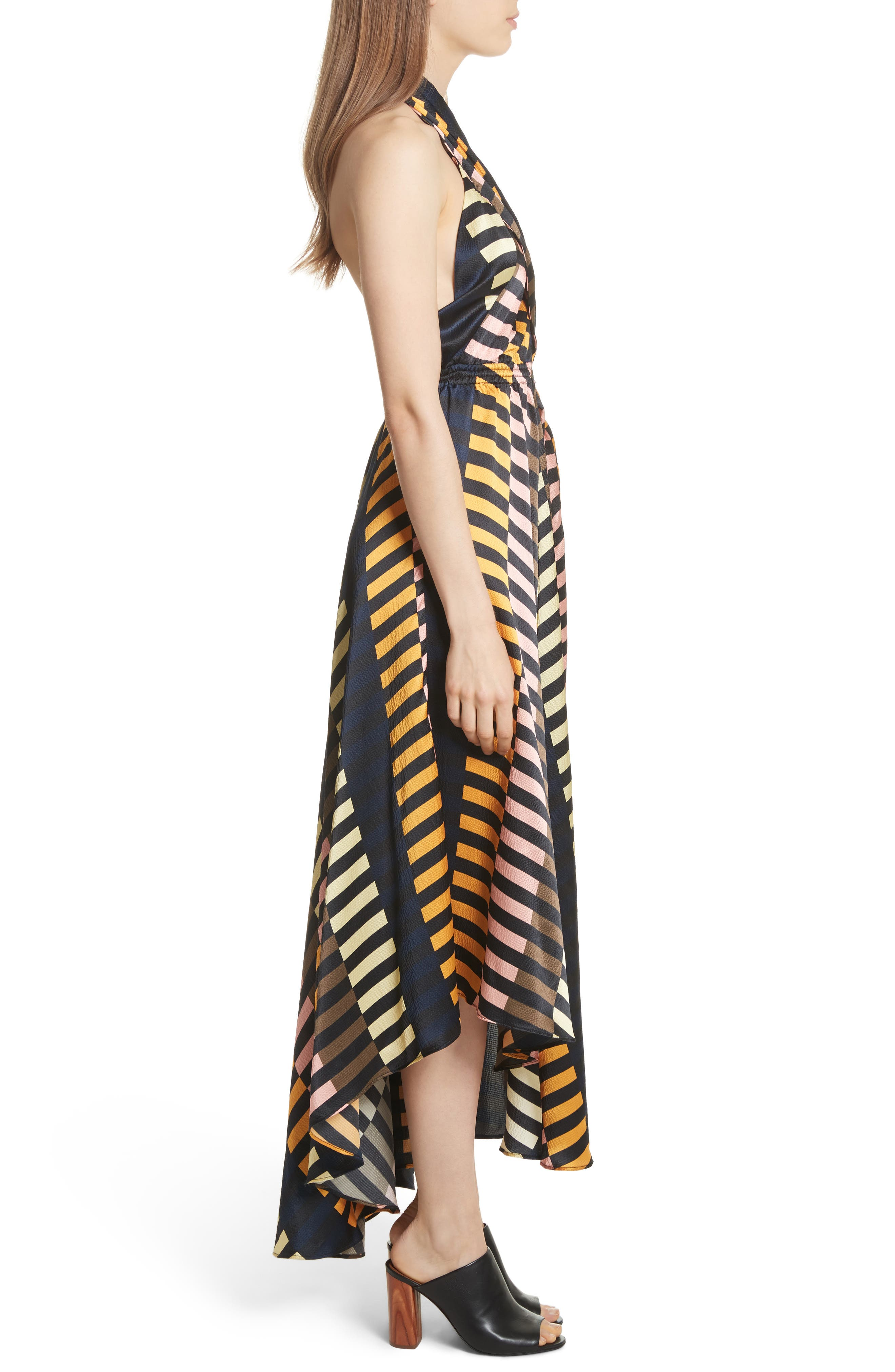 Nightingale Silk Halter Dress,                             Alternate thumbnail 3, color,                             Majorelle Print