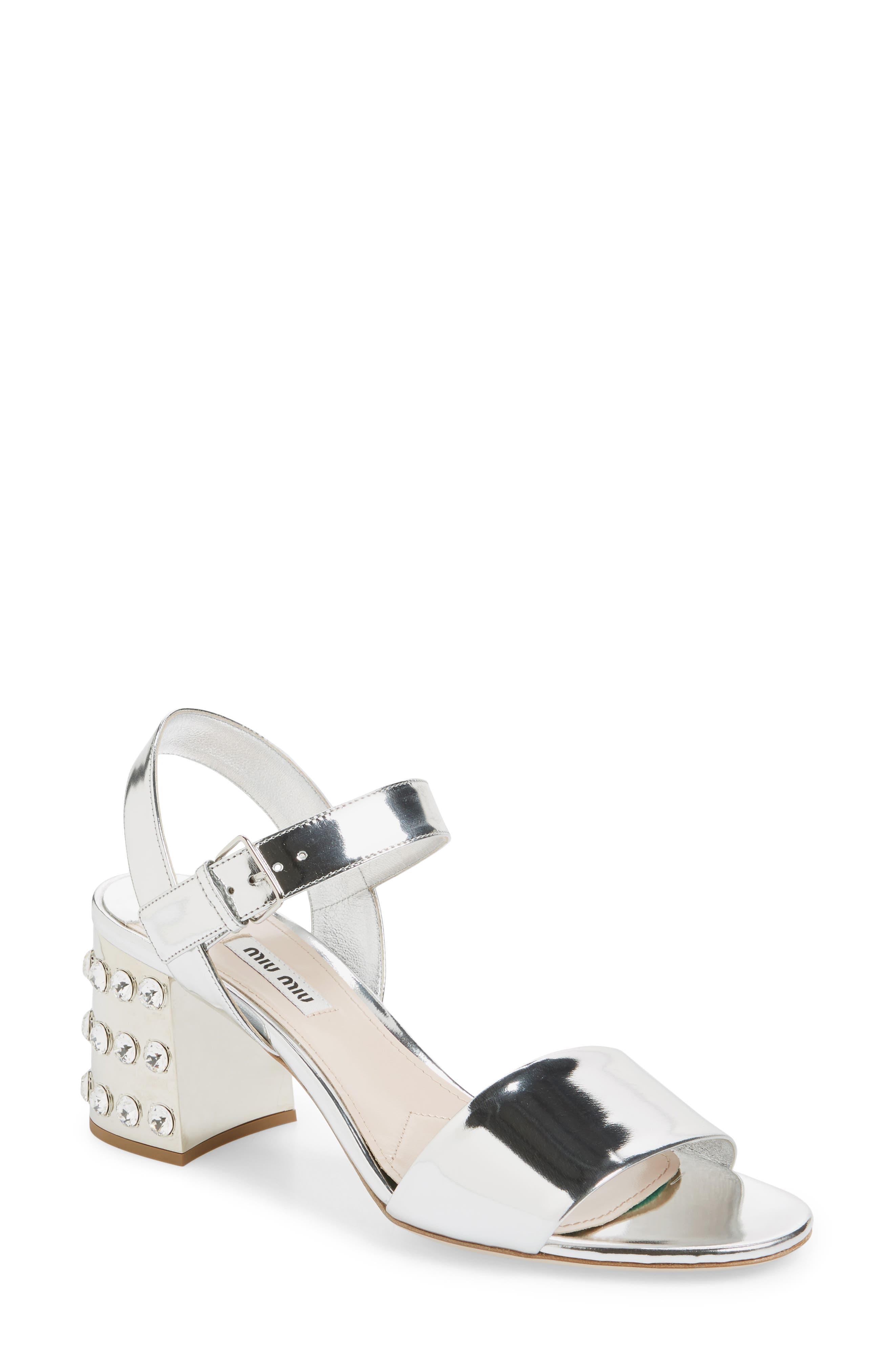 Main Image - Miu Miu Crystal Embellished Block Heel Sandal (Women)