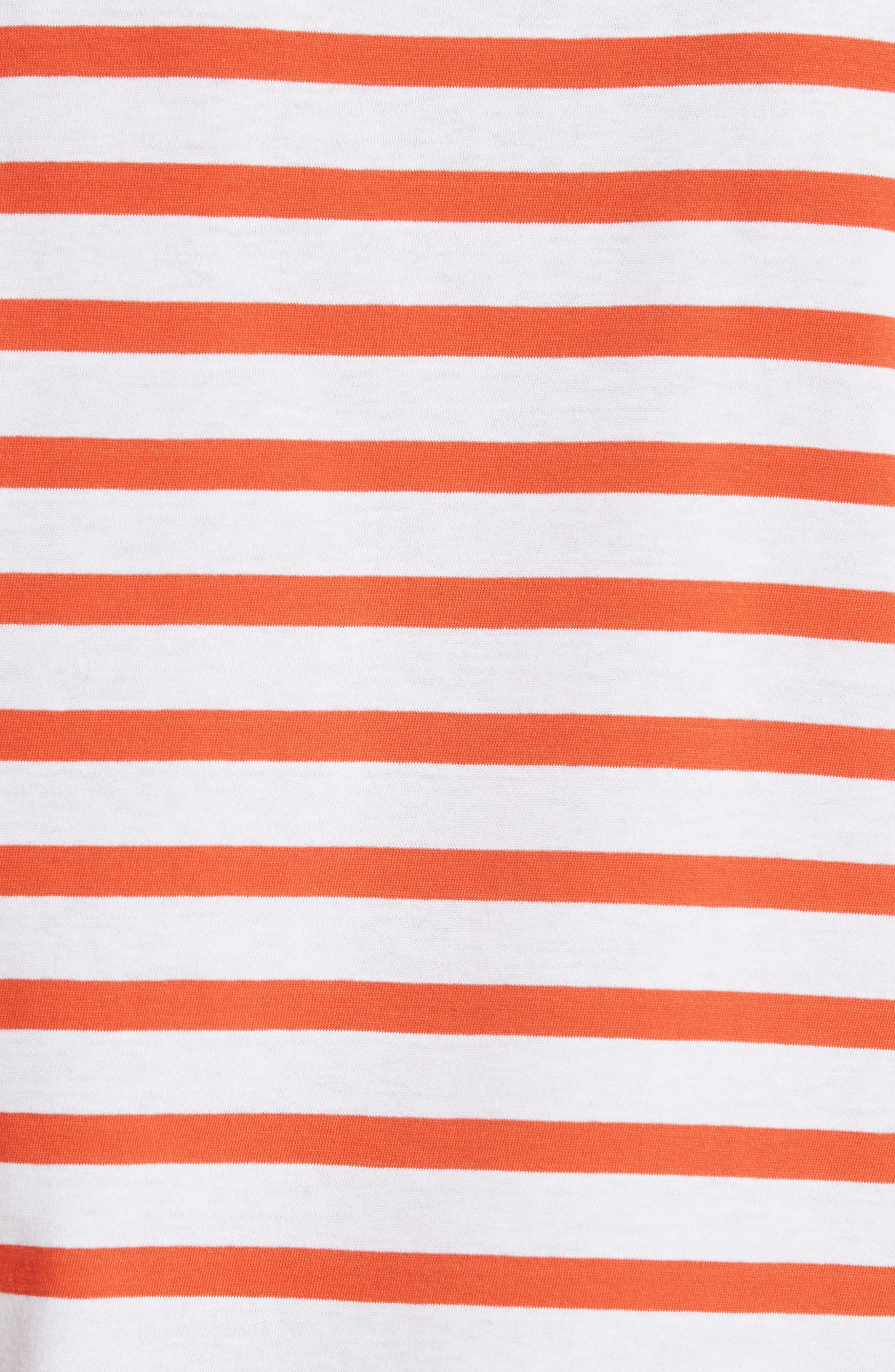 être cécile Déjà Dudé Tee,                             Alternate thumbnail 5, color,                             Tomato Breton Stripe