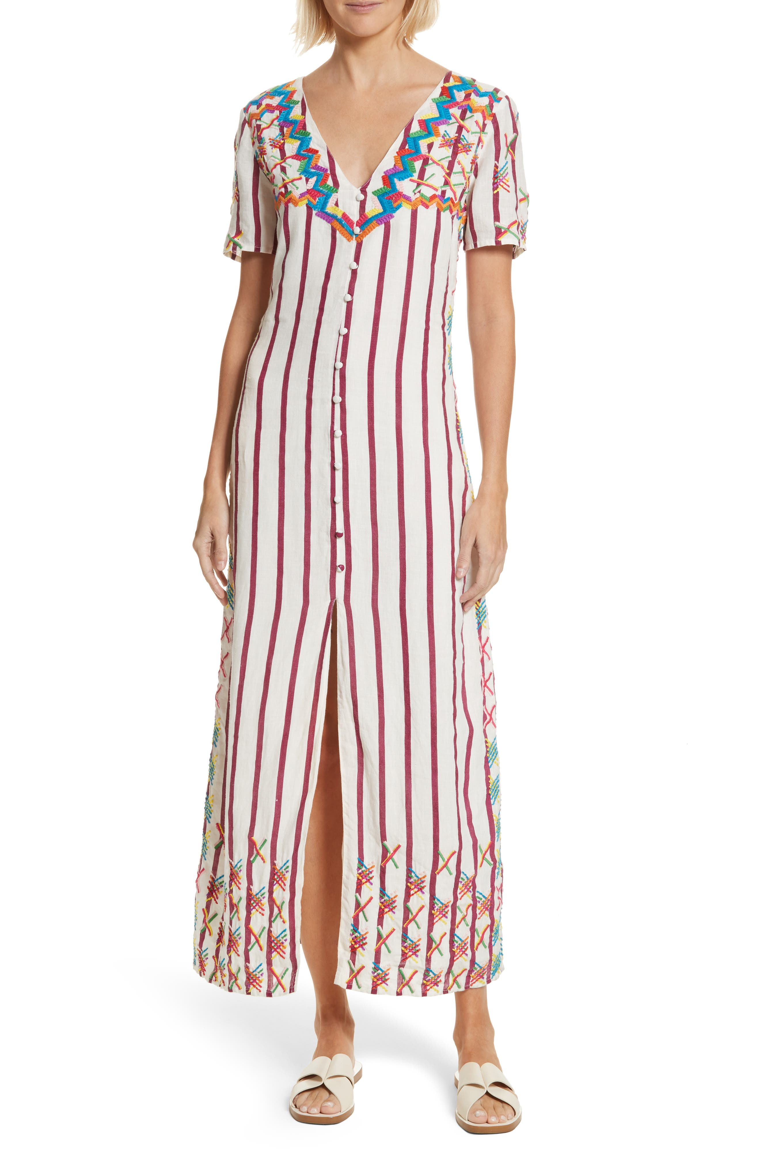 Maria Embroidered Maxi Dress,                         Main,                         color, Off White/ Burgundy