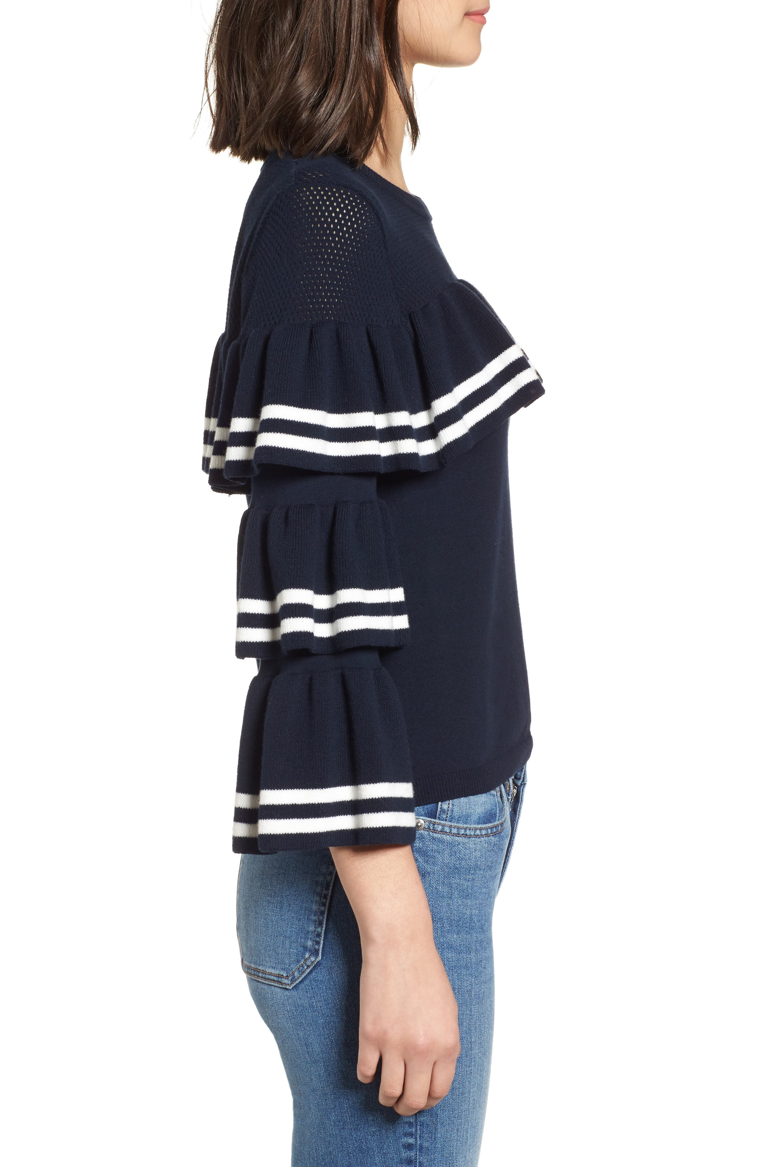 Rhonda Tiered Sleeve Sweater,                             Alternate thumbnail 3, color,                             Night