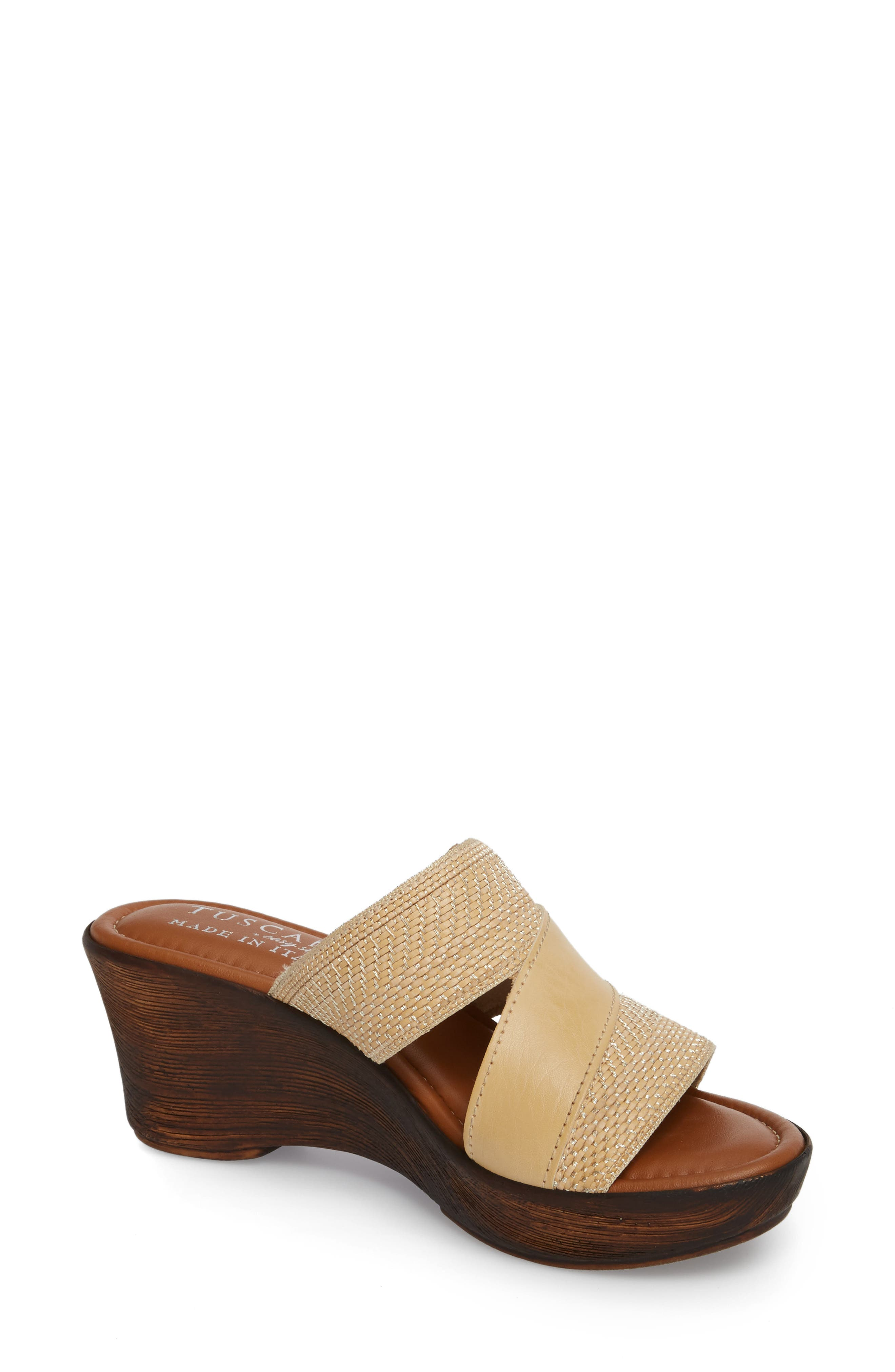 by Easy Street<sup>®</sup> Positano Sandal,                         Main,                         color, Beige/ Woven Faux Leather