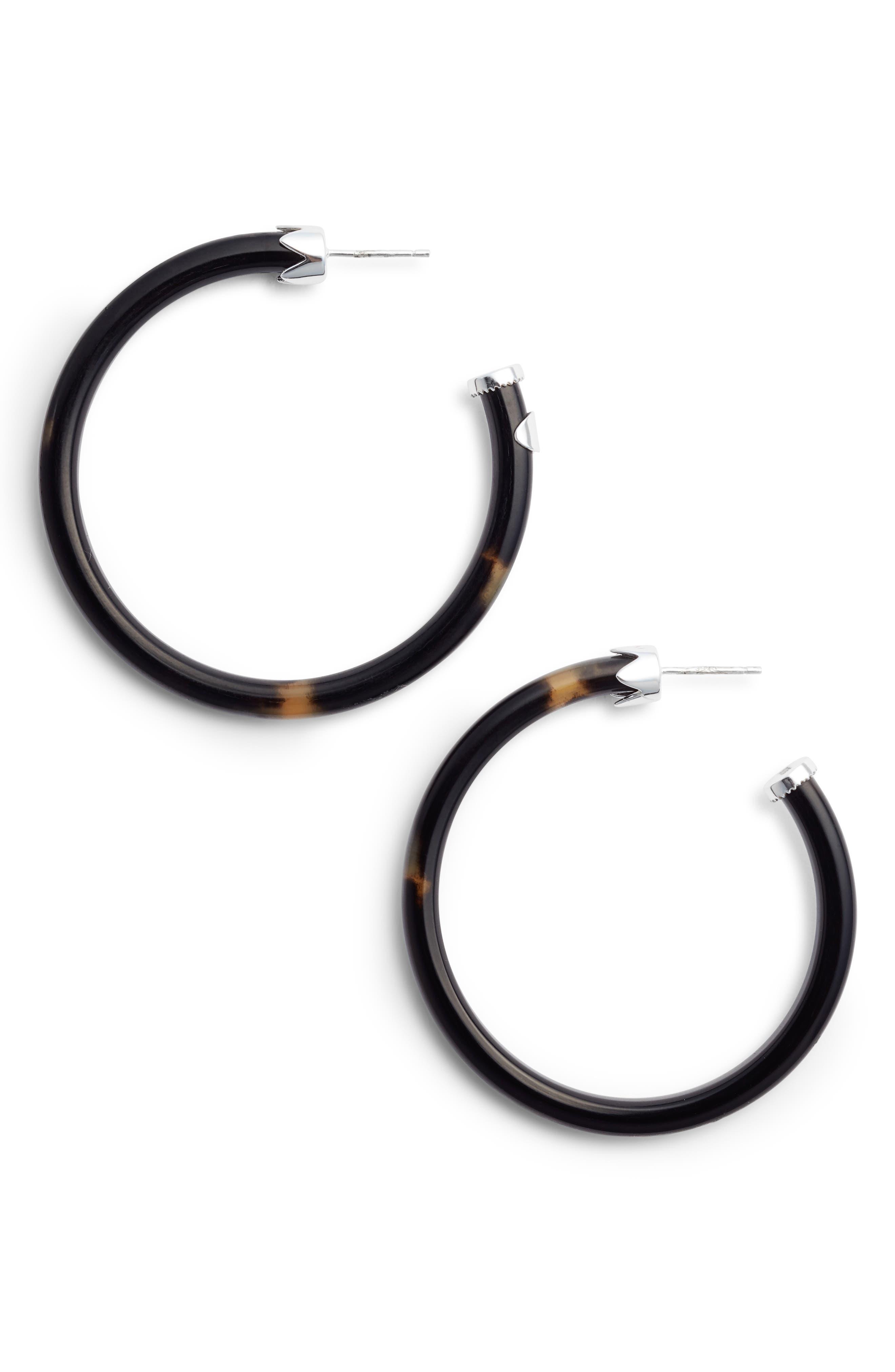 Horn Hoop Earrings,                         Main,                         color, Silver