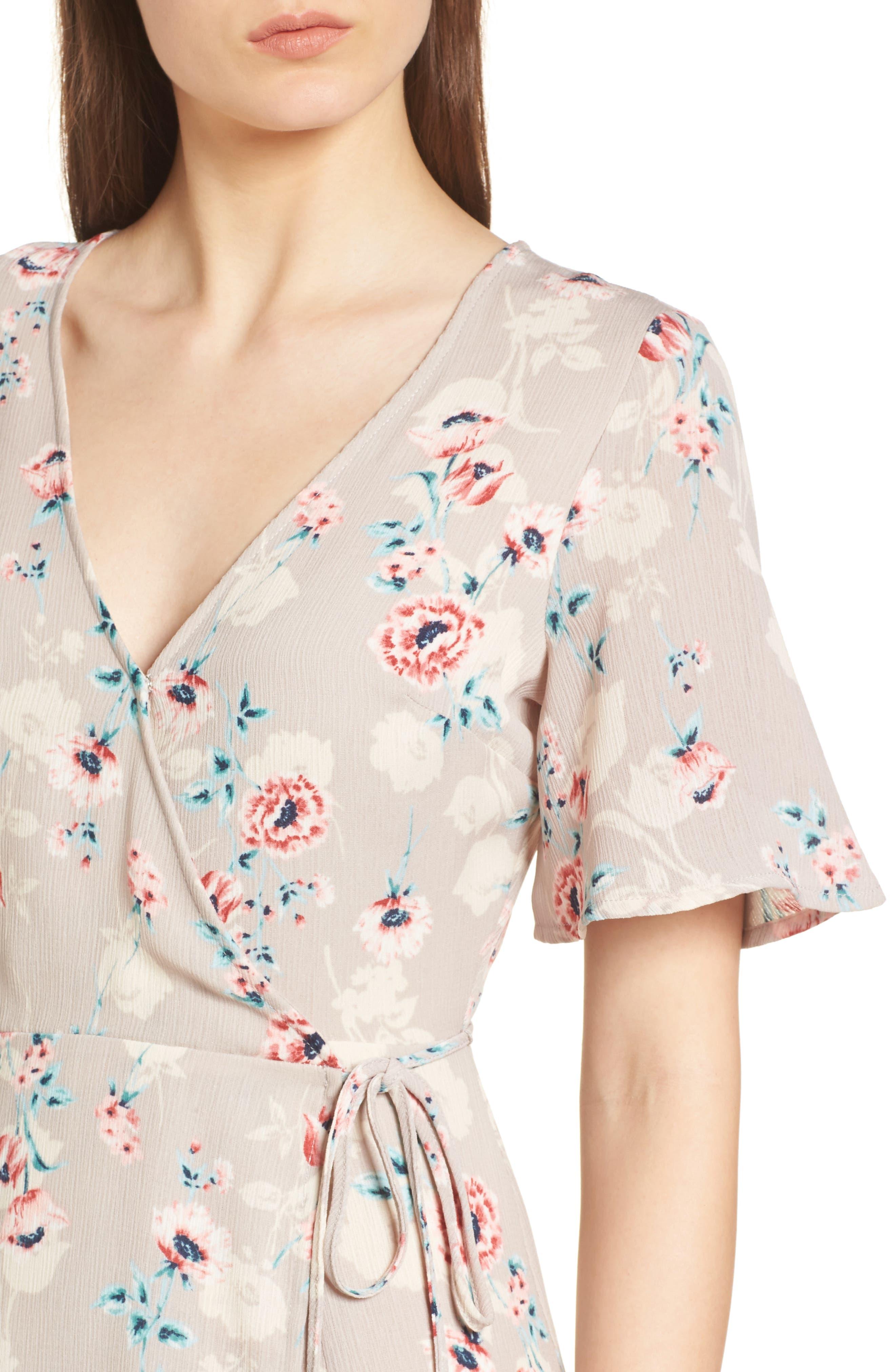 Floral Print Wrap Maxi Dress,                             Alternate thumbnail 4, color,                             Taupe-Rose Floral