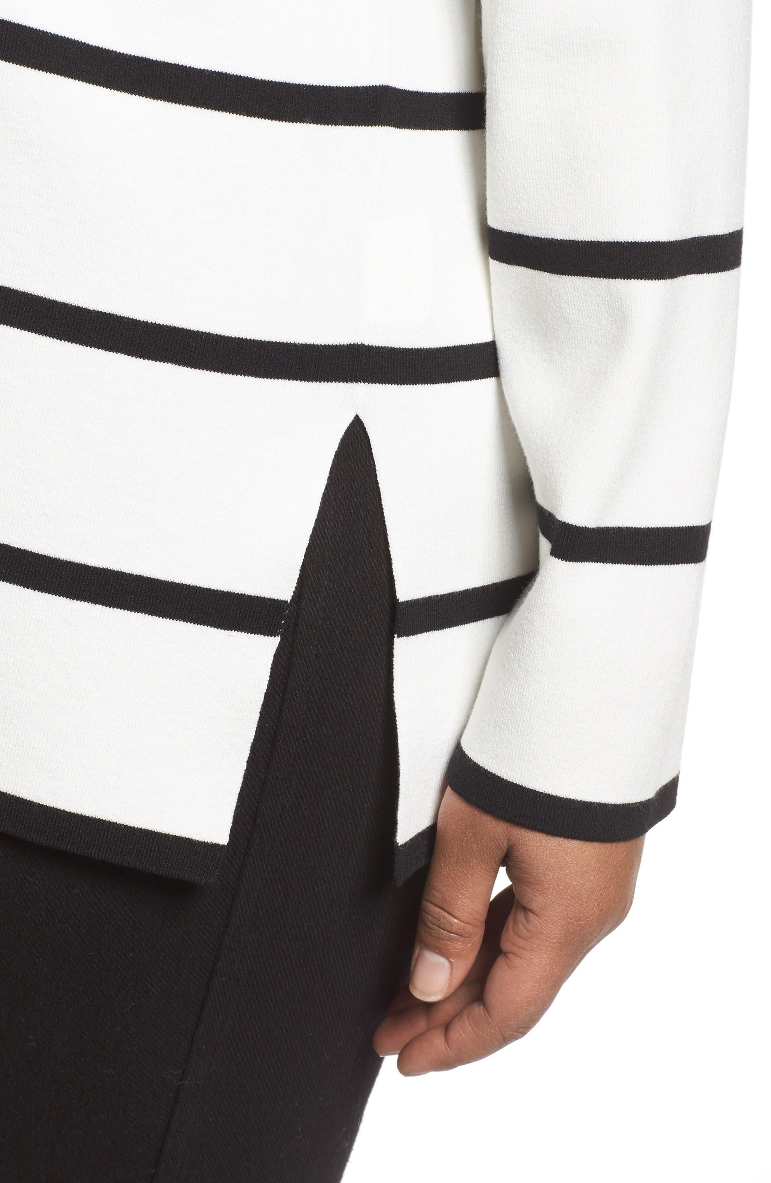 Alternate Image 4  - Lafayette 148 New York Stripe Sweater (Plus Size)