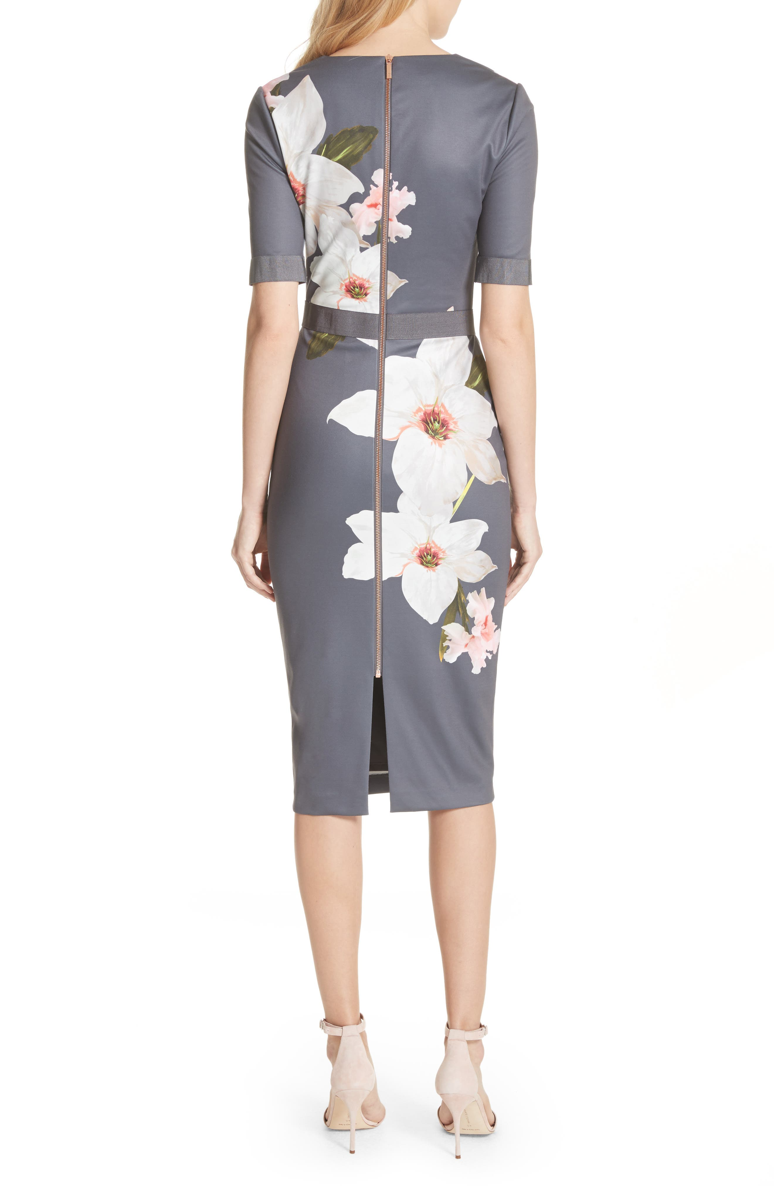Floral Print Belted Body-Con Dress,                             Alternate thumbnail 2, color,                             Grey