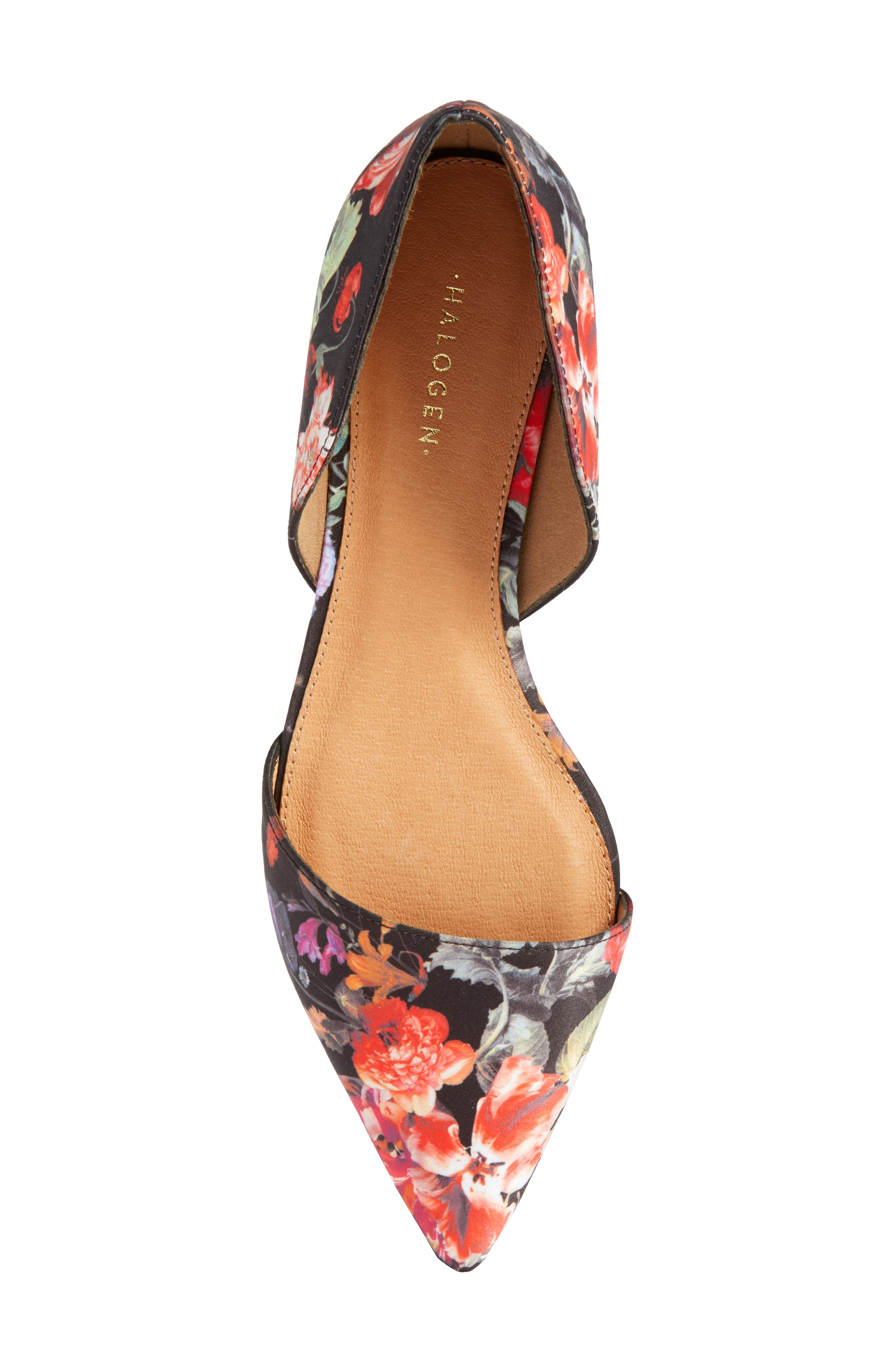Maisy d'Orsay Flat,                             Alternate thumbnail 6, color,                             Black/ Red Floral Fabric
