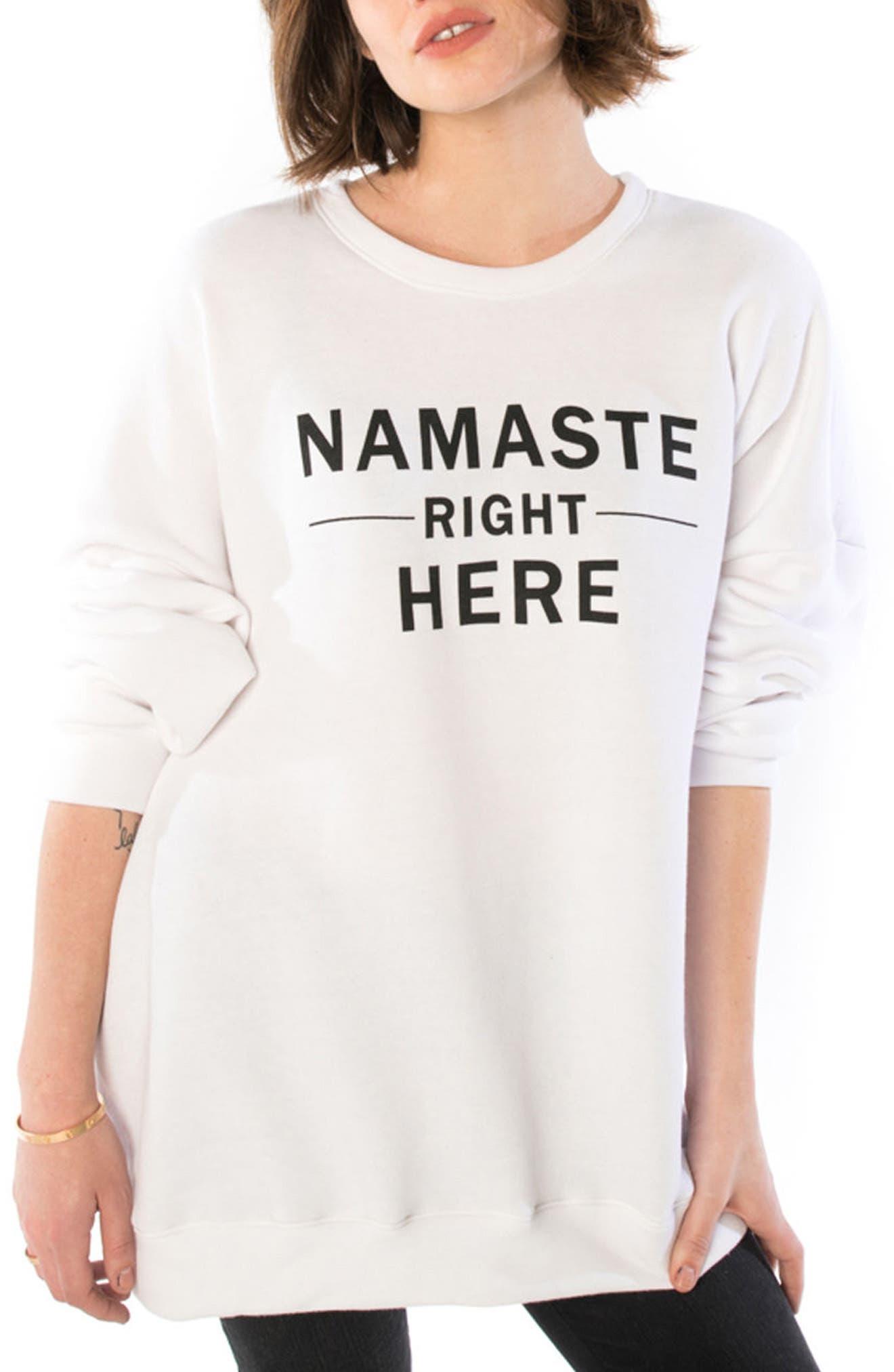 Namaste Oversize Sweatshirt,                         Main,                         color, White