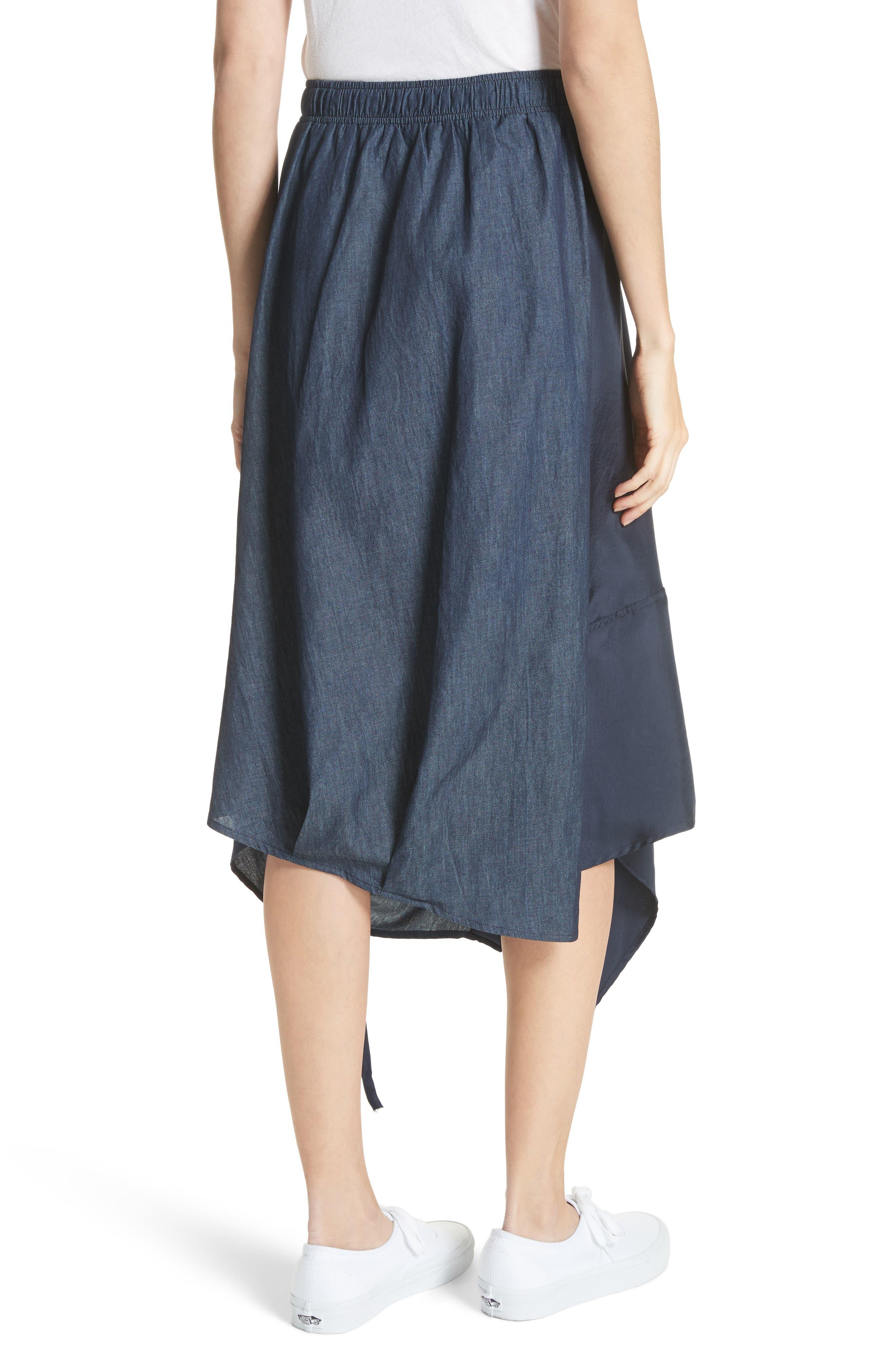 Asymmetrical Mixed Media Skirt,                             Alternate thumbnail 2, color,                             Navy