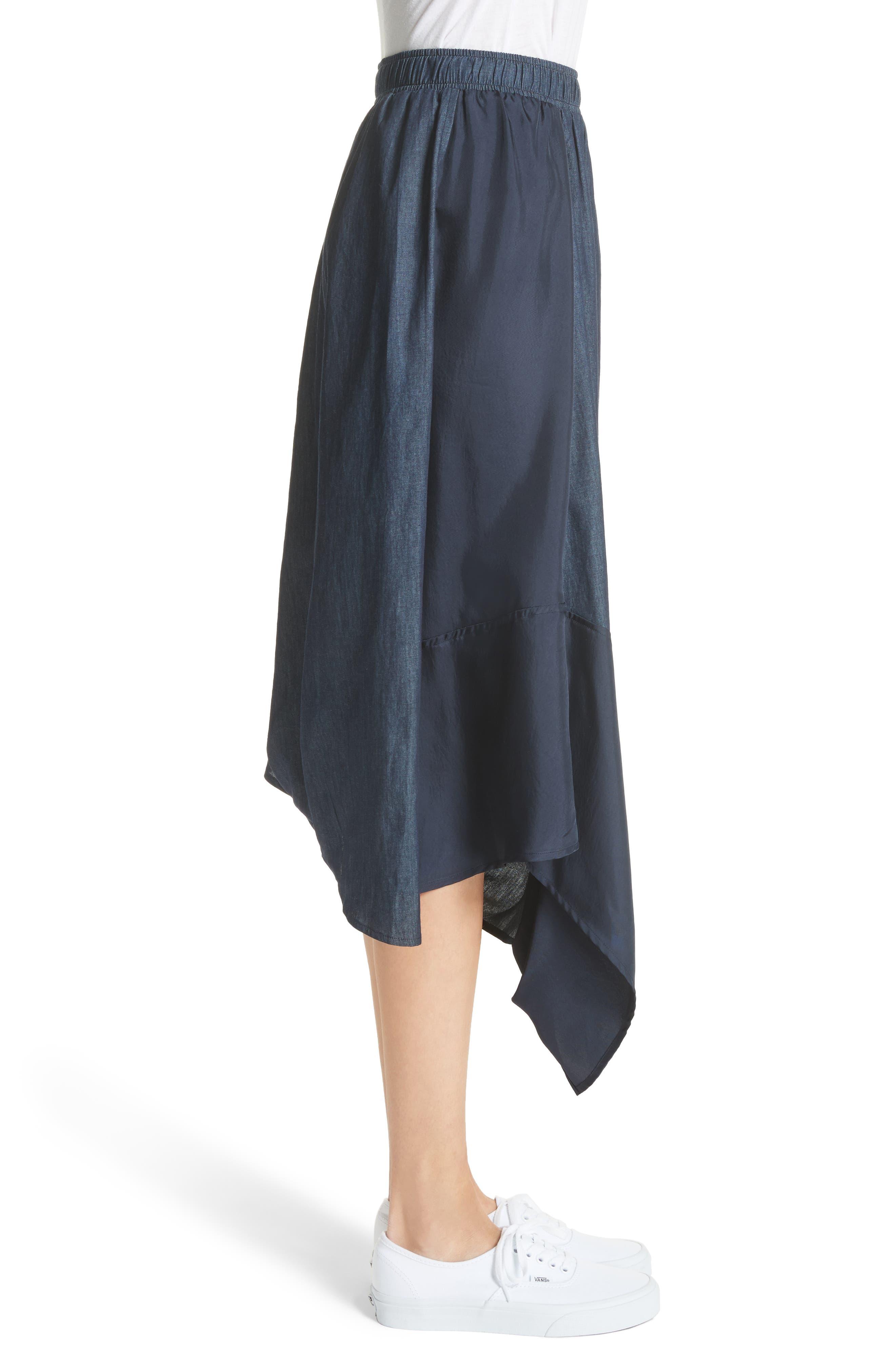 Asymmetrical Mixed Media Skirt,                             Alternate thumbnail 3, color,                             Navy