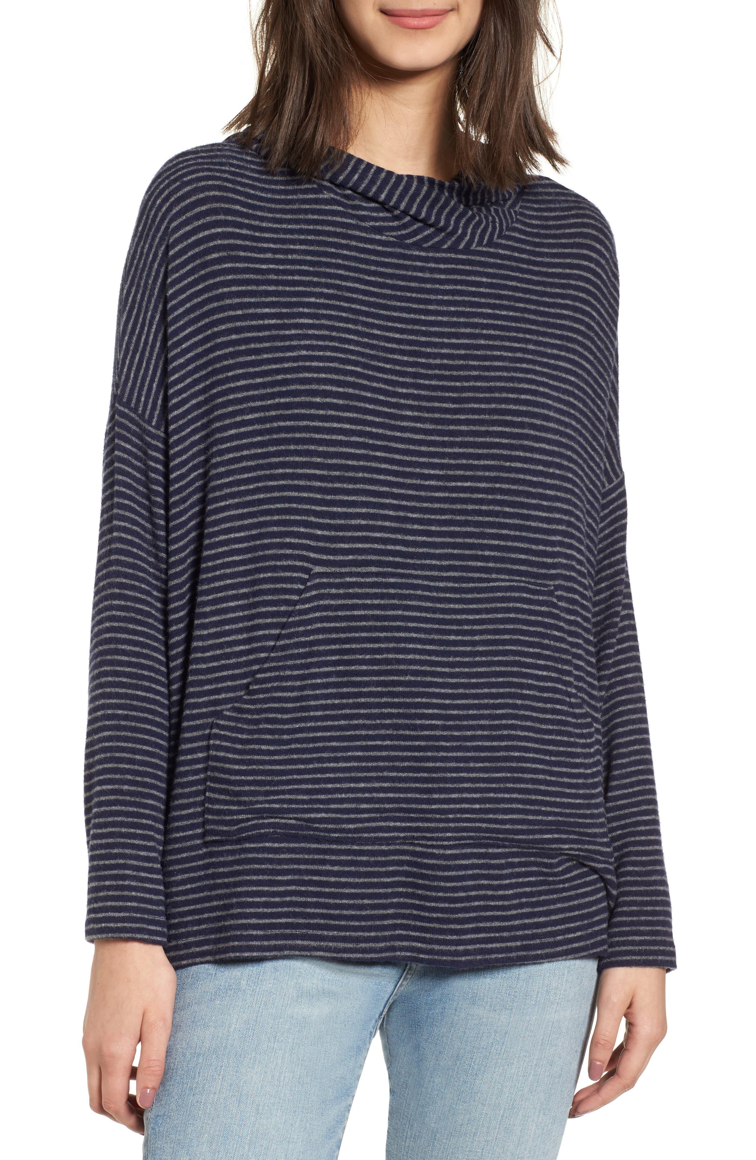 Stripe Draped Hoodie,                         Main,                         color, Navy
