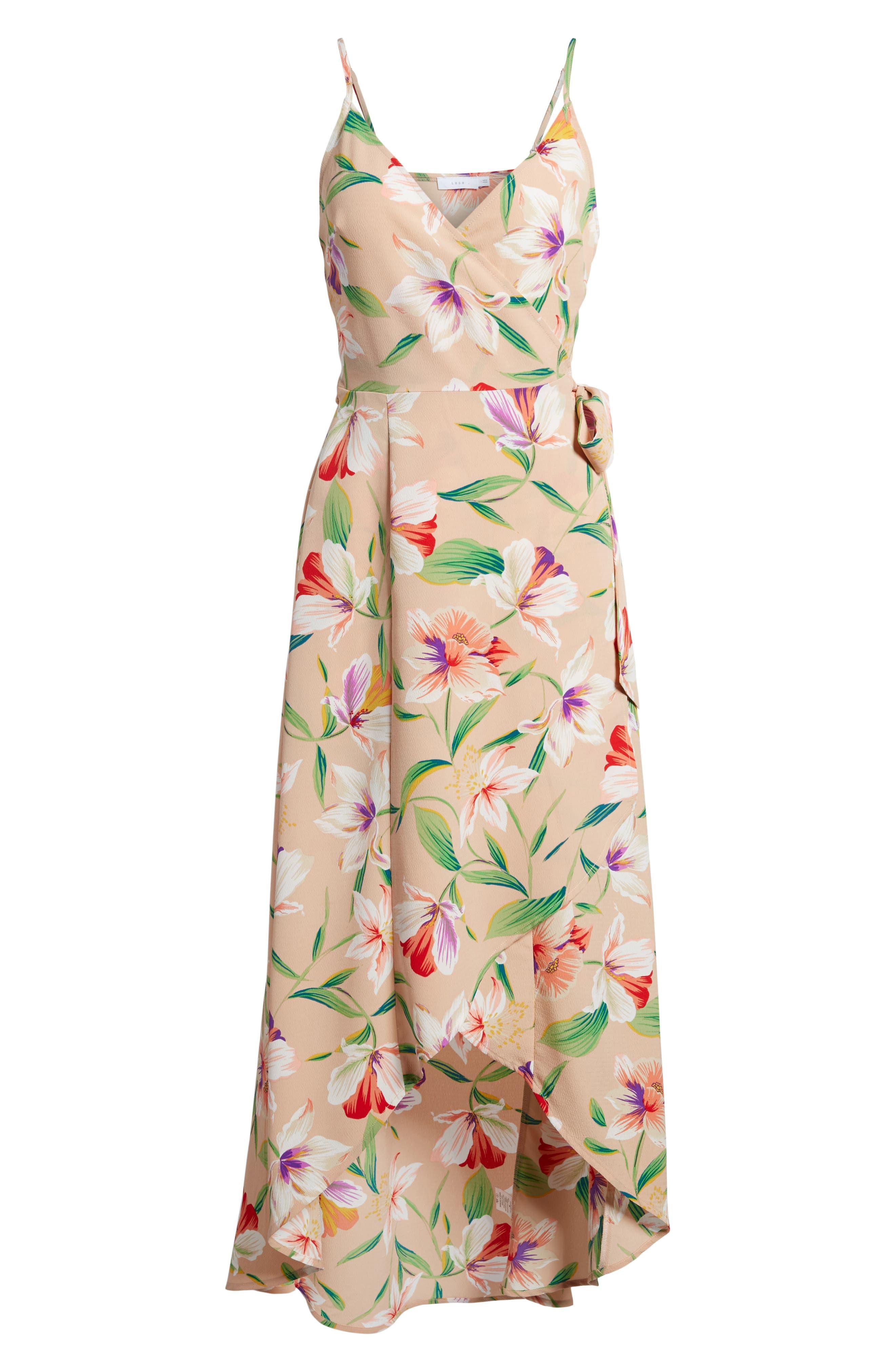 Floral Wrap Maxi Dress,                             Alternate thumbnail 6, color,                             Mocha-Multi Floral