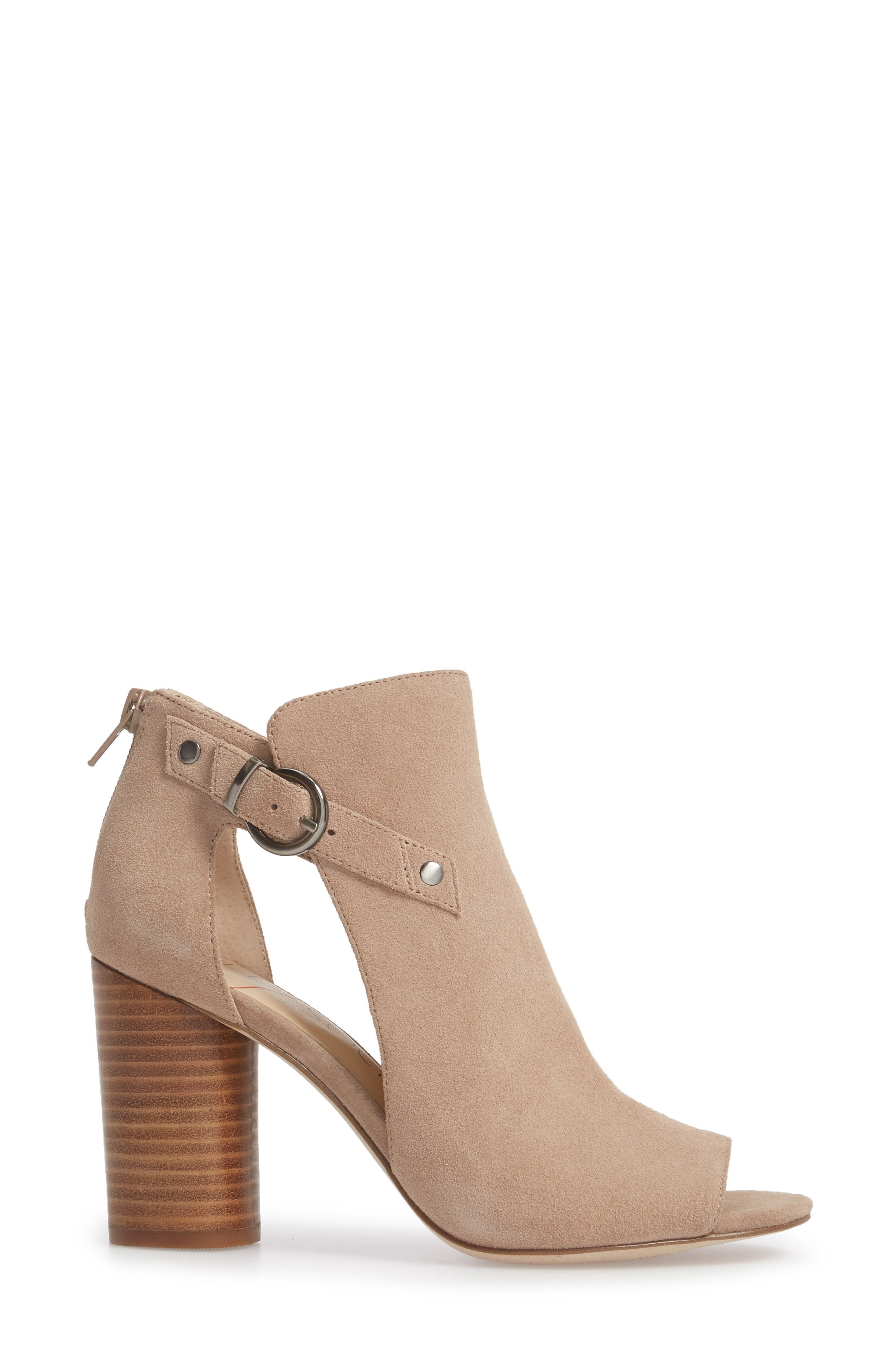 Sally Column Heel Sandal,                             Alternate thumbnail 3, color,                             Warm Taupe Cow Suede
