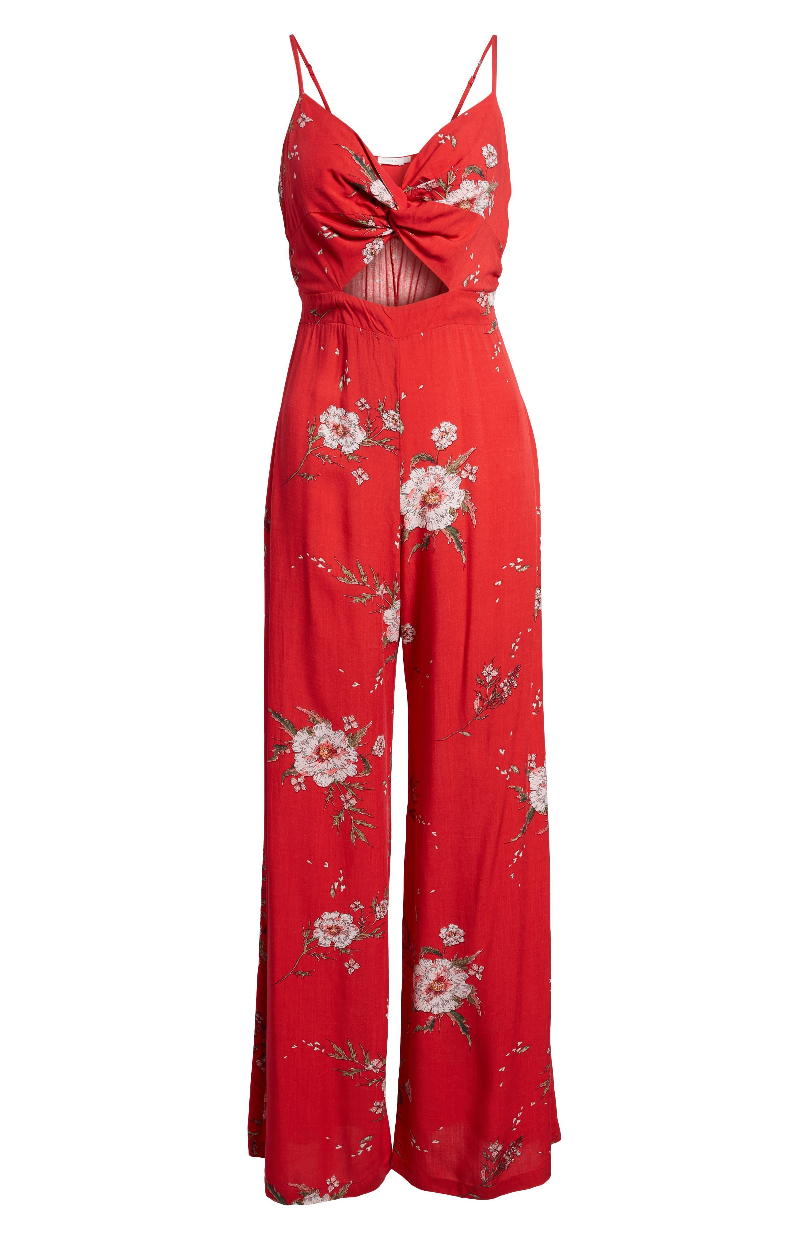 Twist Front Cutout Jumpsuit,                             Alternate thumbnail 6, color,                             Red Floral