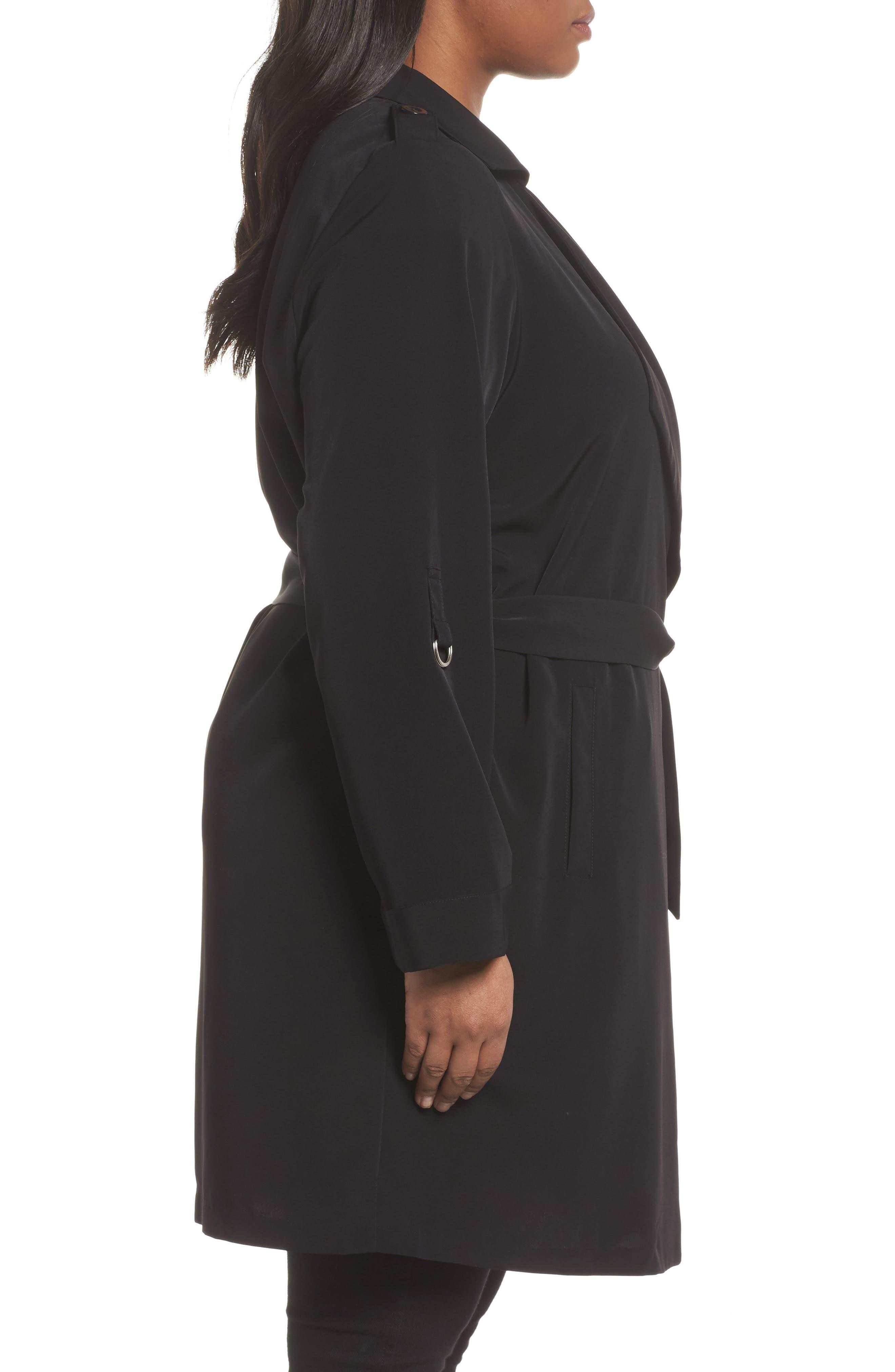 Kaiza Trench Coat,                             Alternate thumbnail 3, color,                             Black Beauty