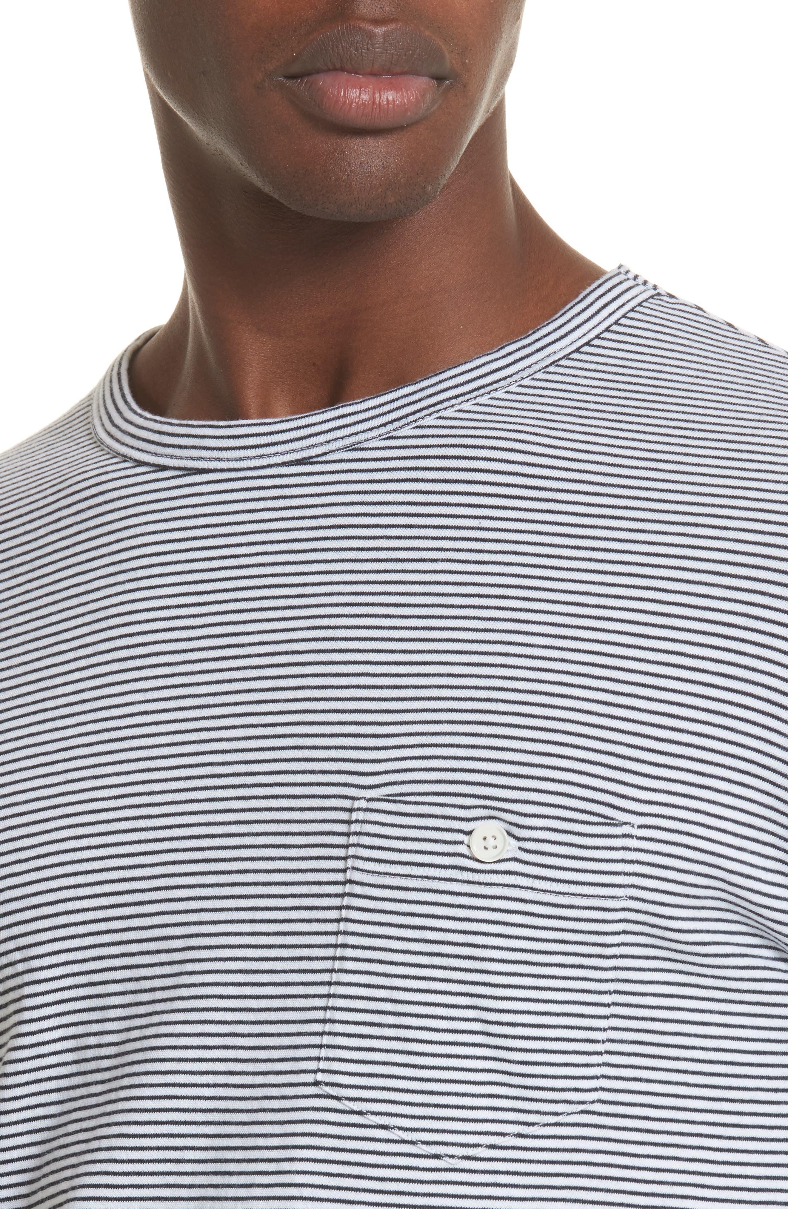 Todd Snyder Stripe Long Sleeve T-Shirt,                             Alternate thumbnail 4, color,                             Navy
