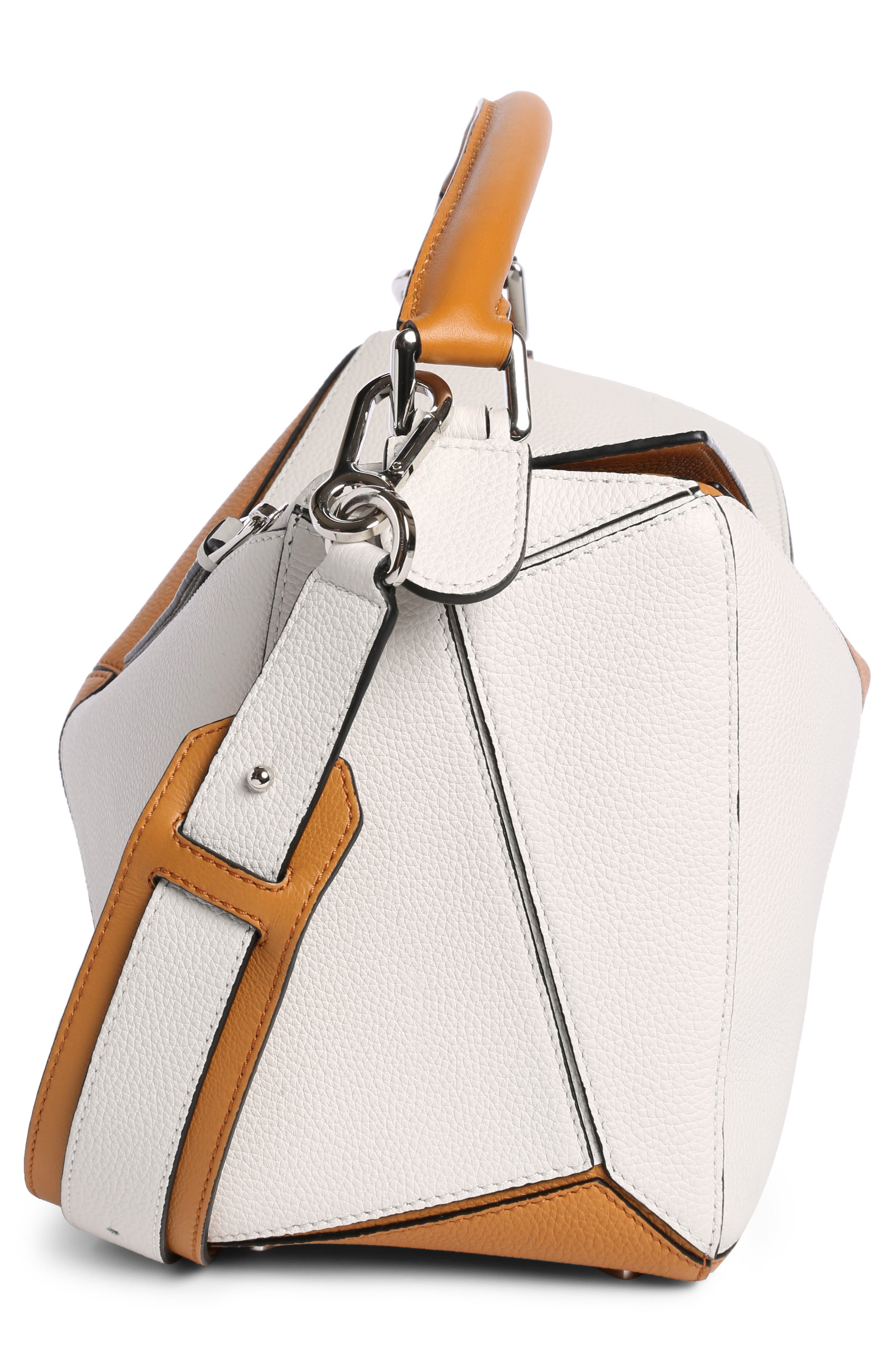 Puzzle Colorblock Calfskin Leather Bag,                             Alternate thumbnail 3, color,                             Soft White/ Amber