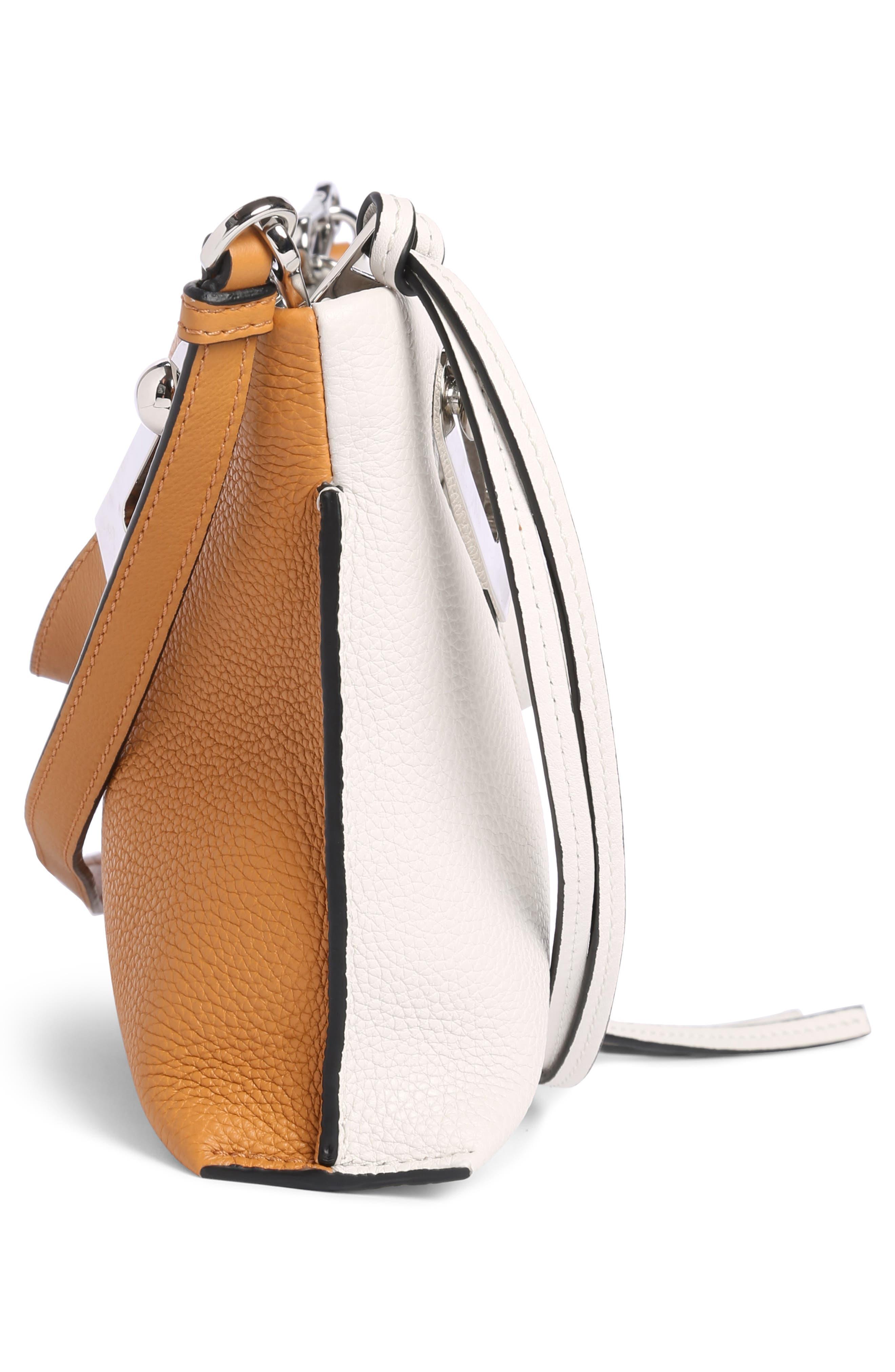 Small Missy Calfskin Leather Crossbody Bag,                             Alternate thumbnail 3, color,                             Soft White/ Amber