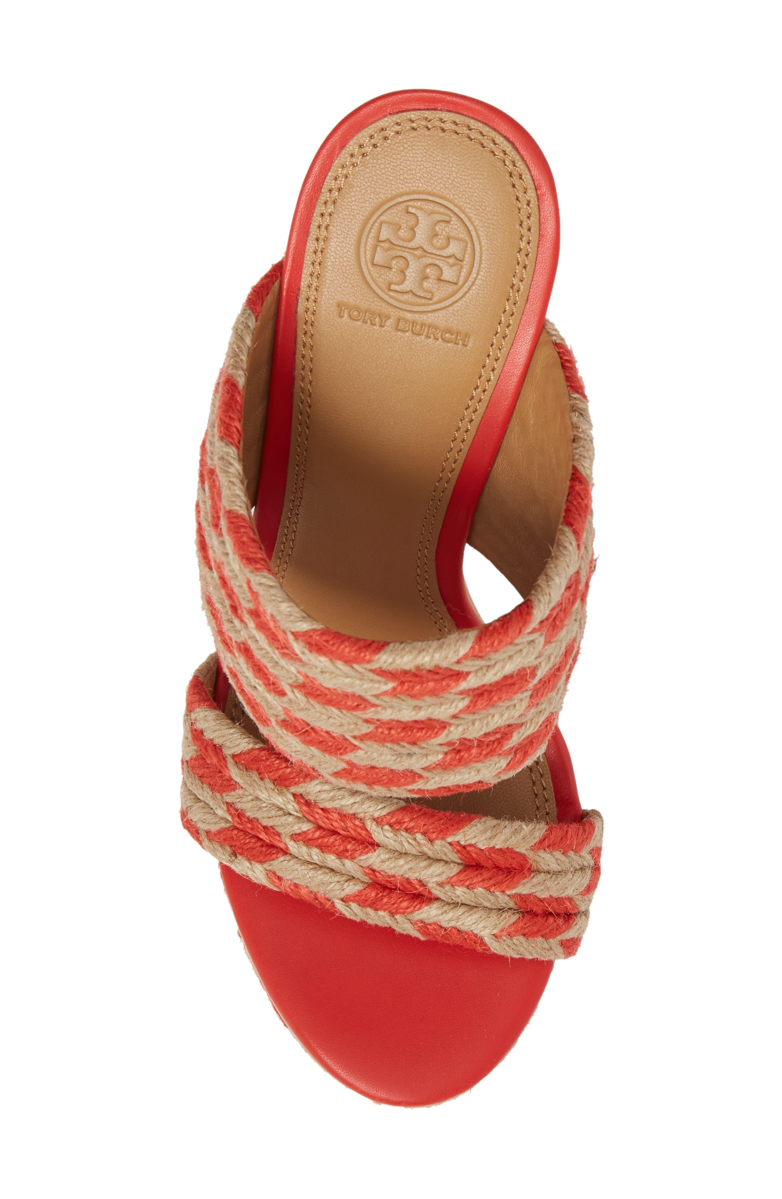 Lola Woven Platform Sandal,                             Alternate thumbnail 4, color,                             Poppy Orange/ Perfect Ivory
