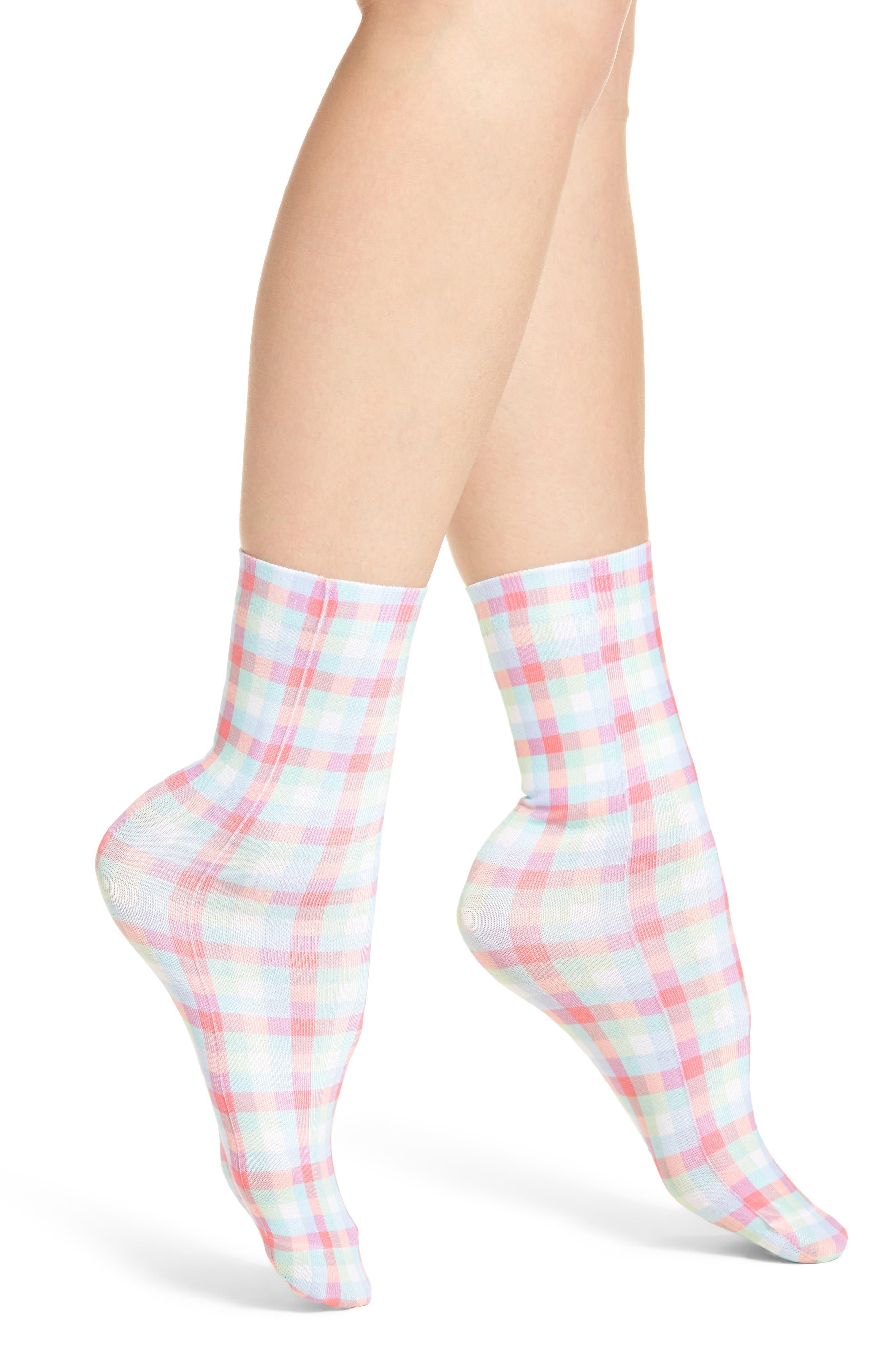 gingham crew socks,                         Main,                         color, Multi