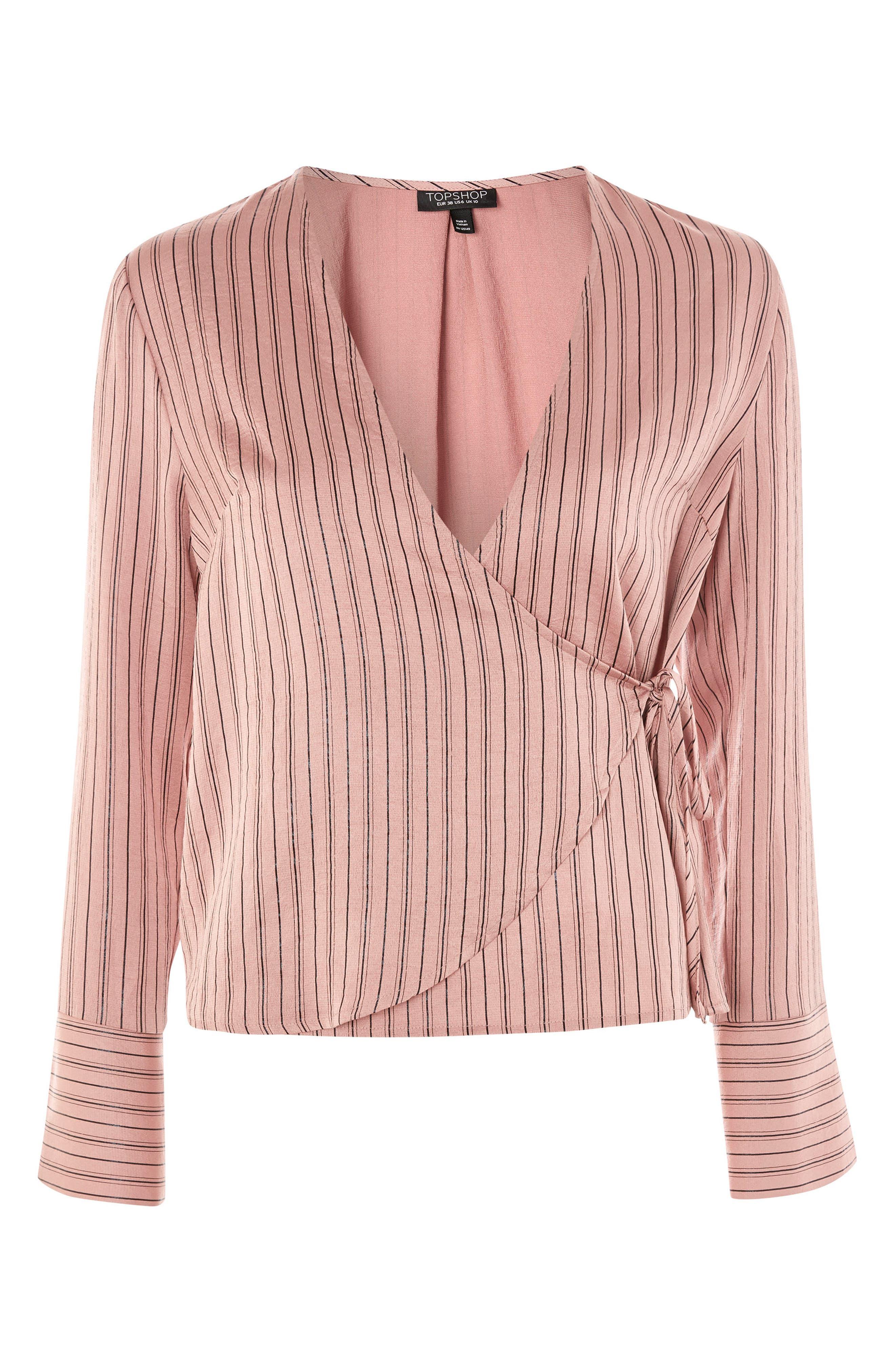 Stripe Wrap Blouse,                             Alternate thumbnail 5, color,                             Blush Multi