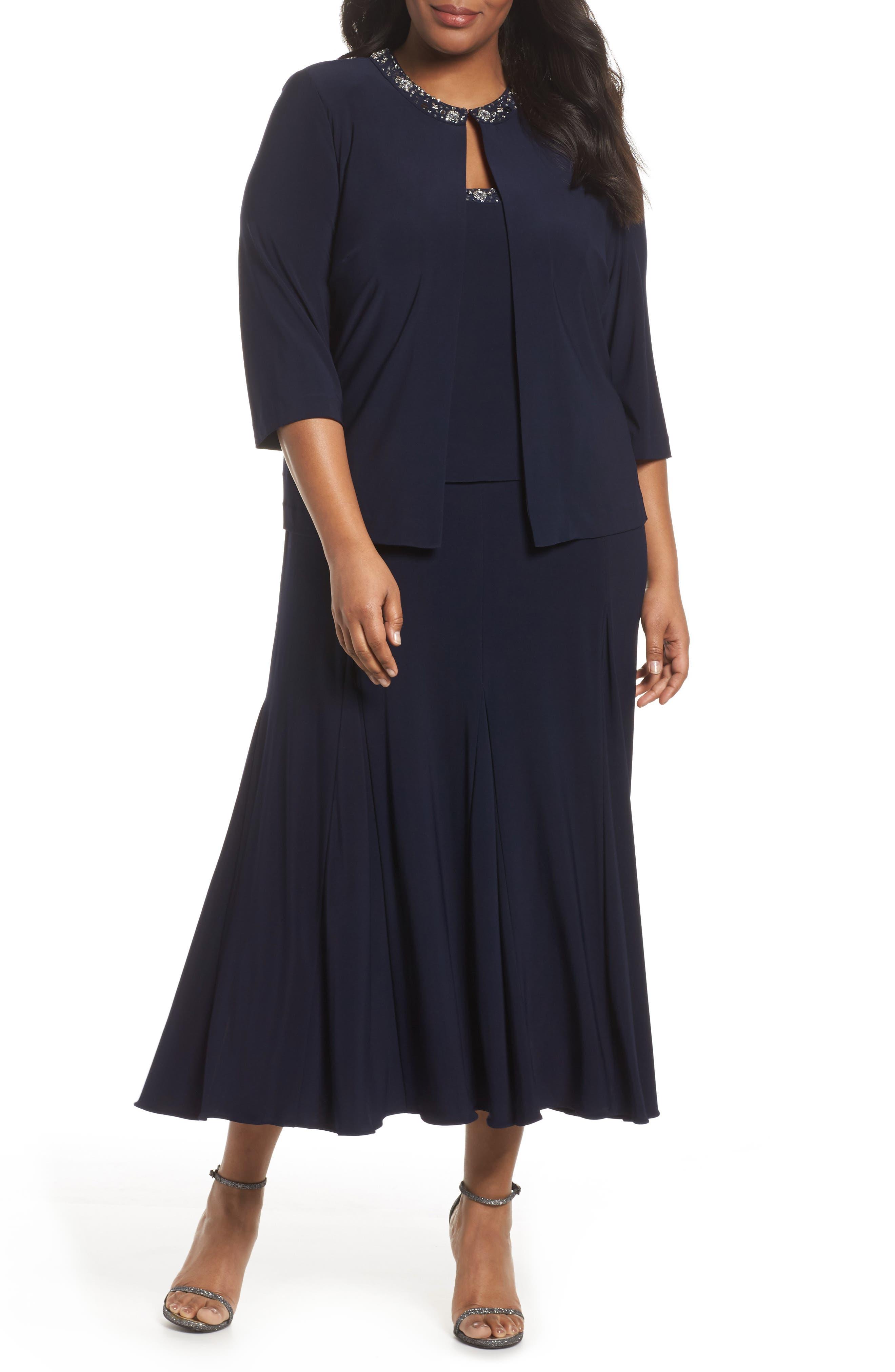 Beaded Dress & Jacket,                         Main,                         color, Navy