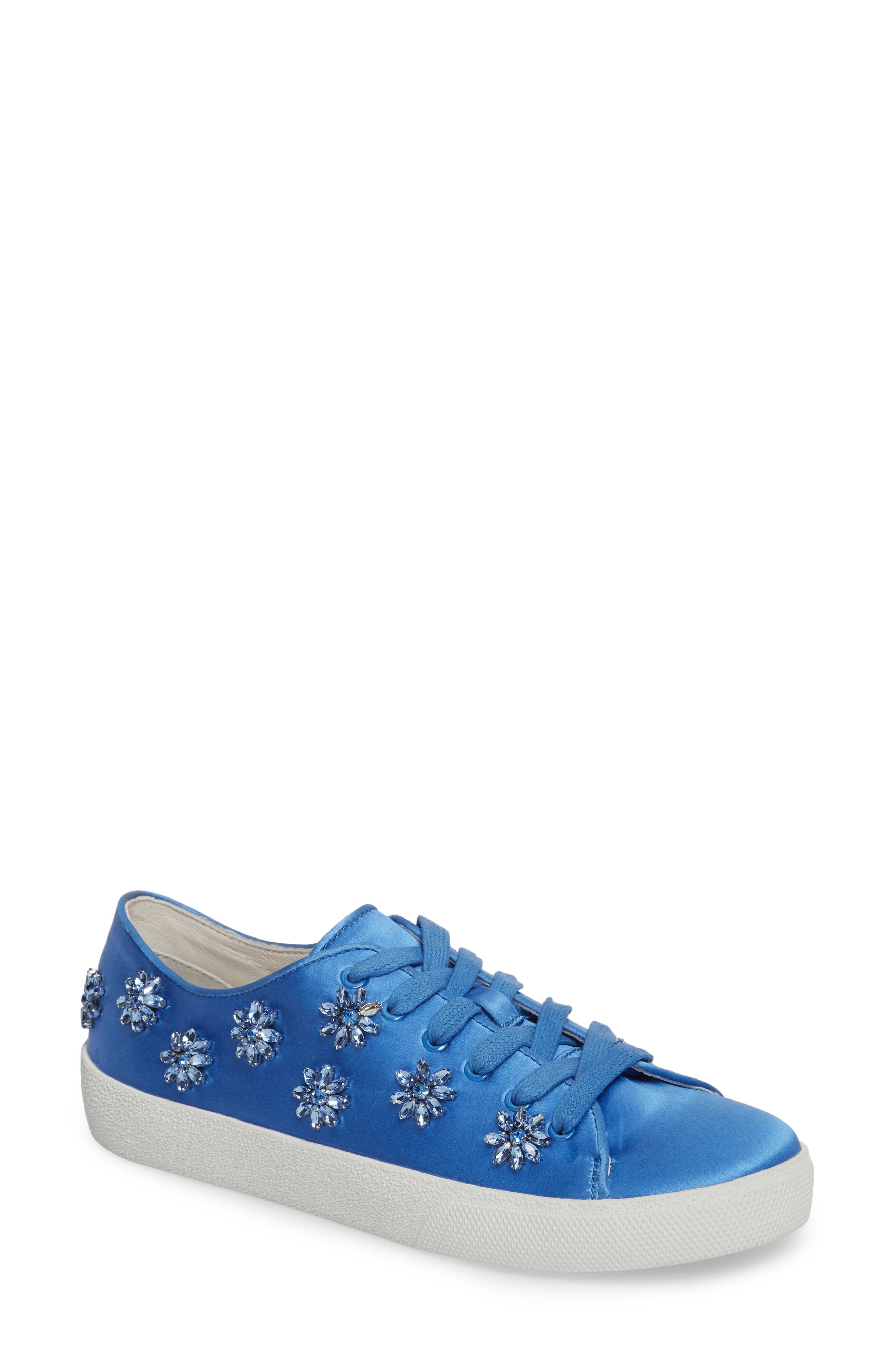 Cleo Crystal Embellished Sneaker,                             Main thumbnail 1, color,                             Cerulean