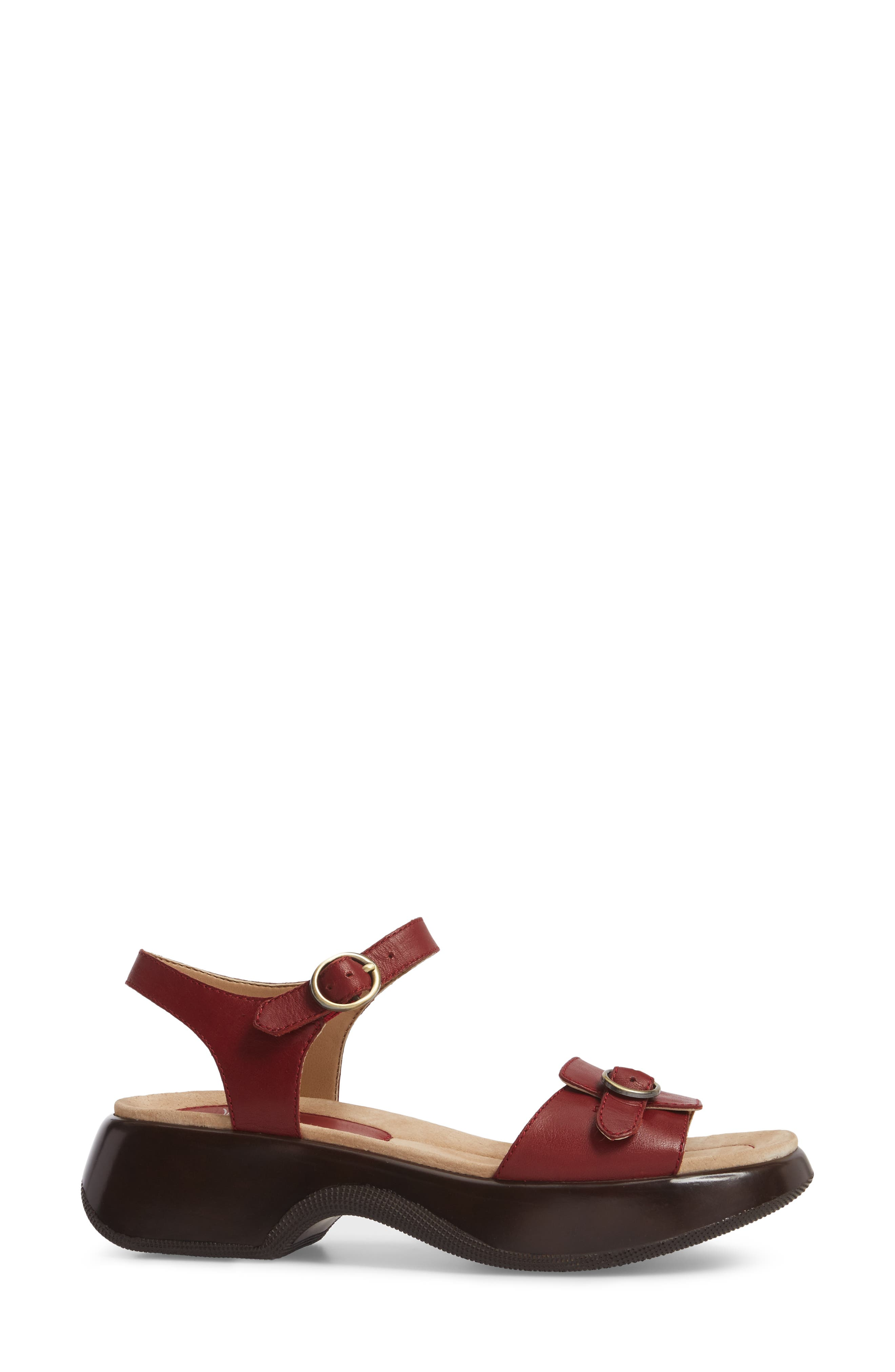Lynnie Sandal,                             Alternate thumbnail 3, color,                             Red Leather