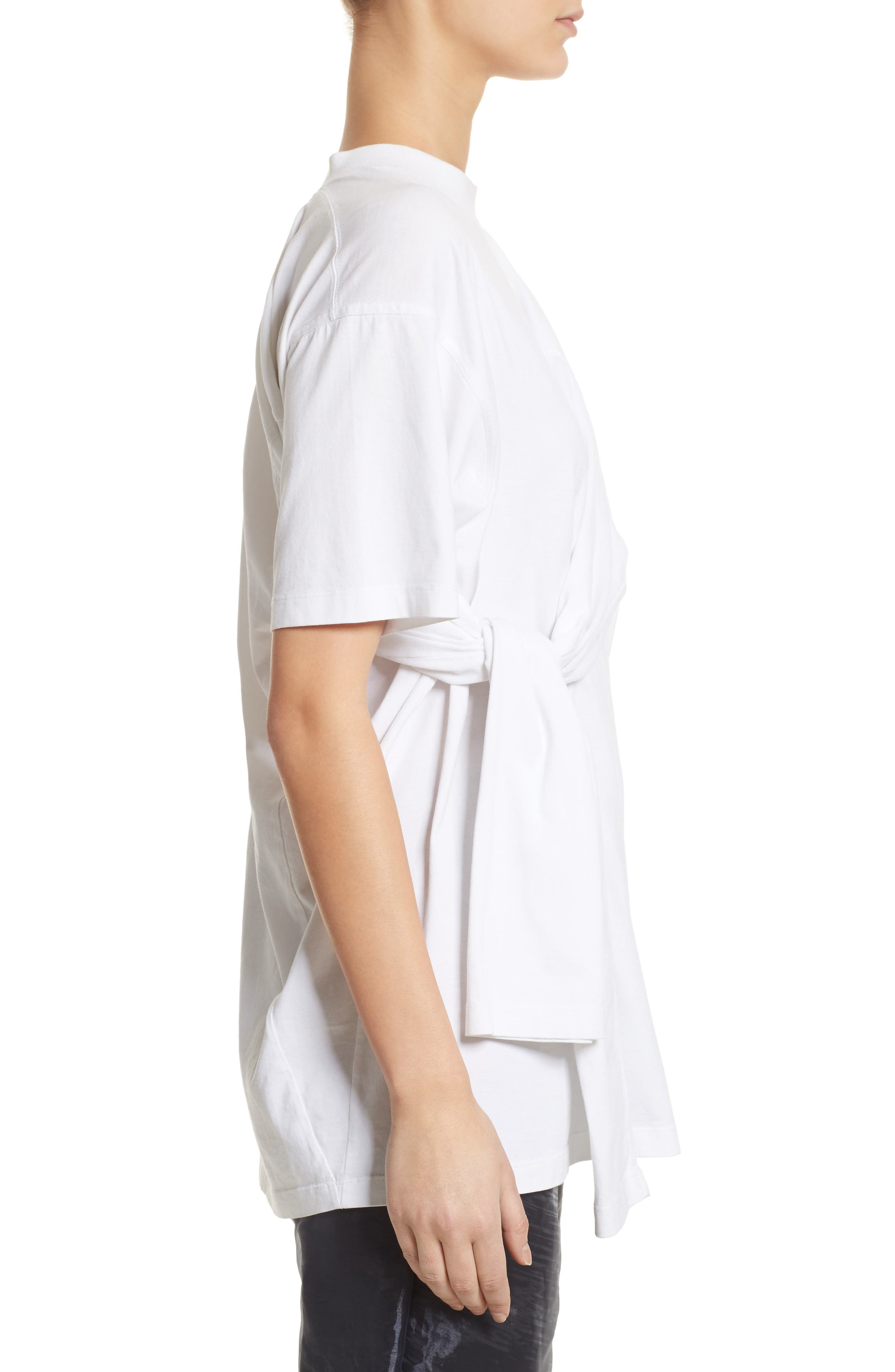 Tie Front Tee,                             Alternate thumbnail 3, color,                             White
