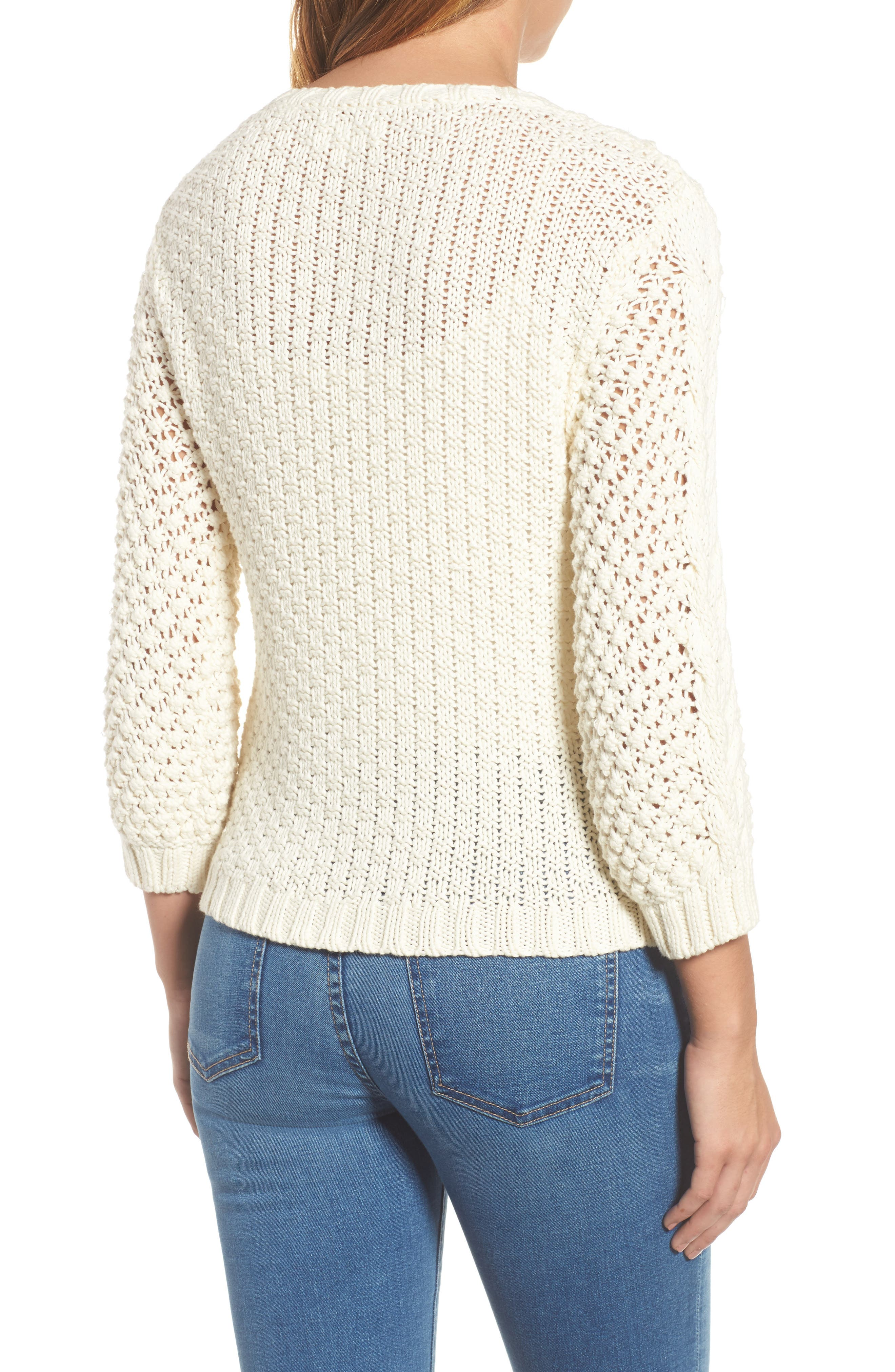 Popcorn Cable Sweater,                             Alternate thumbnail 2, color,                             Milk White