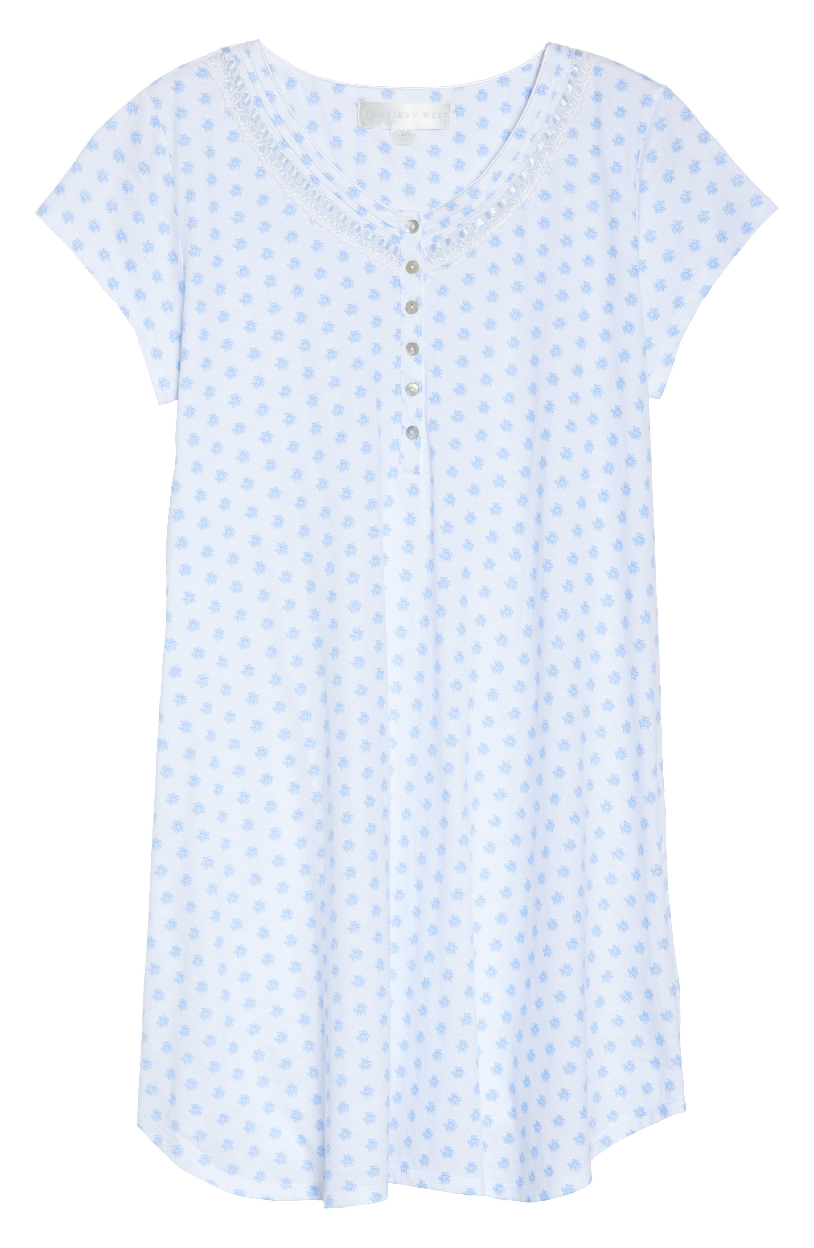 Jersey Sleep Shirt,                             Alternate thumbnail 4, color,                             White Blue Geo