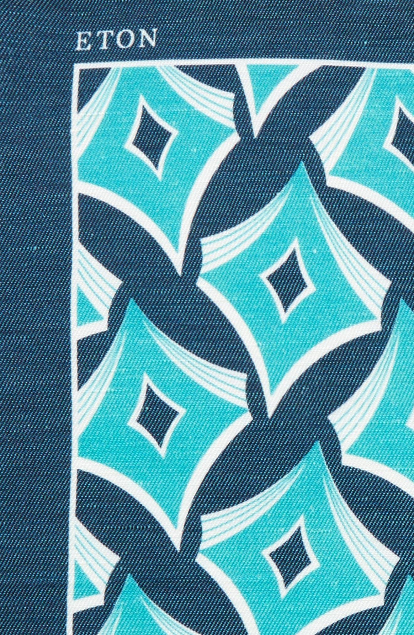 Geometric Linen & Silk Pocket Square,                             Alternate thumbnail 3, color,                             Aqua