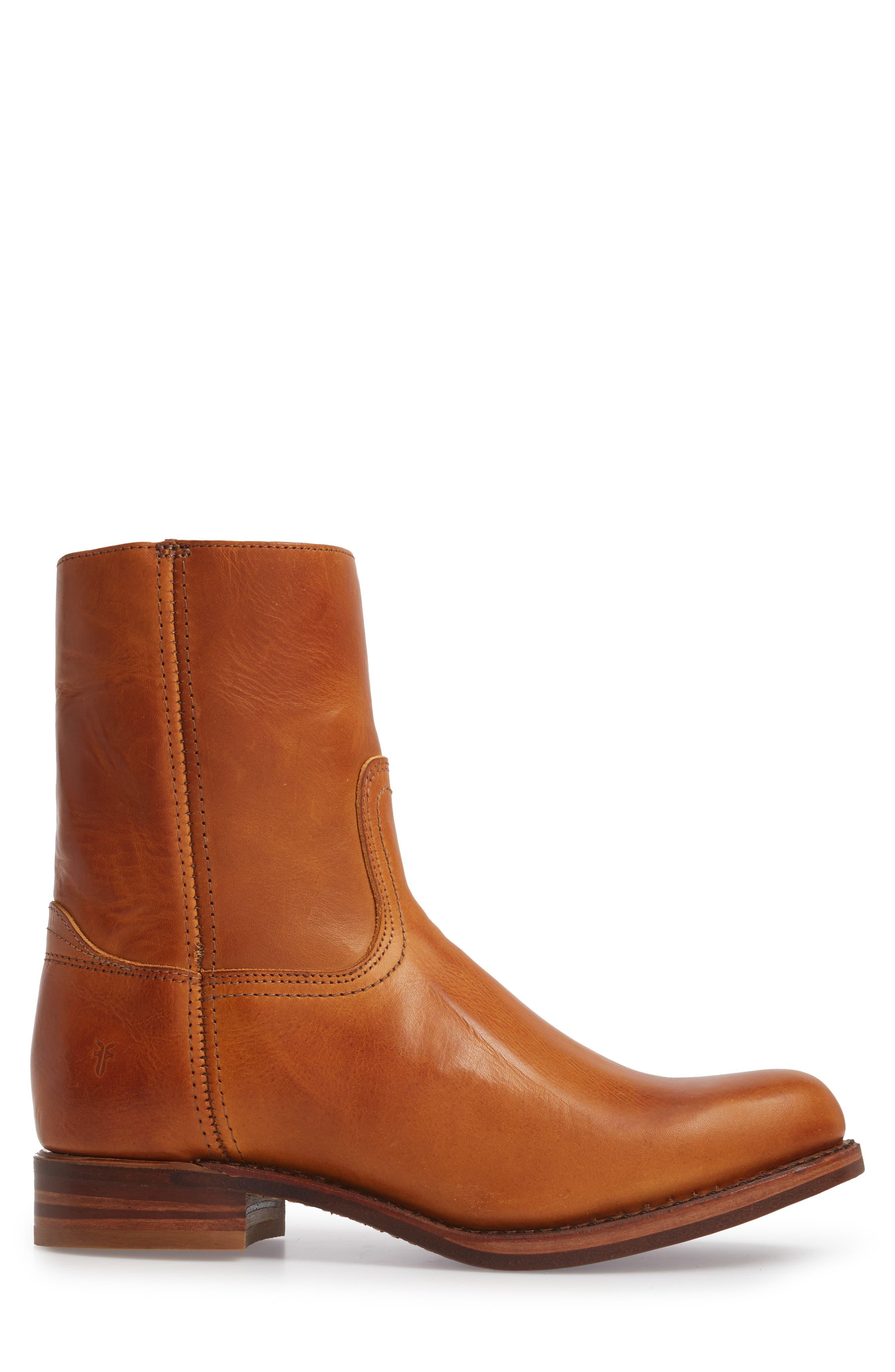 Campus Side Zip Boot,                             Alternate thumbnail 3, color,                             Cognac Leather