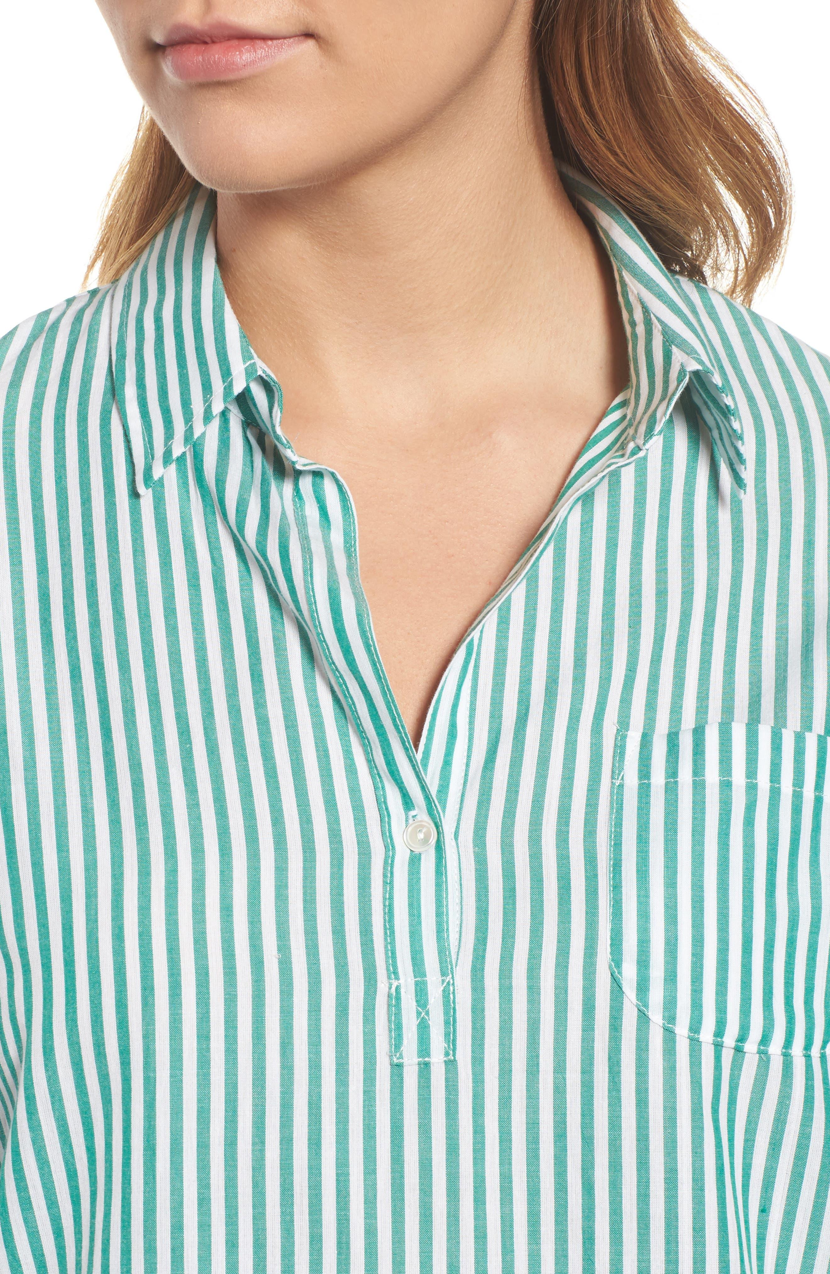 Popover Stripe Cotton Shirt,                             Alternate thumbnail 5, color,                             Green