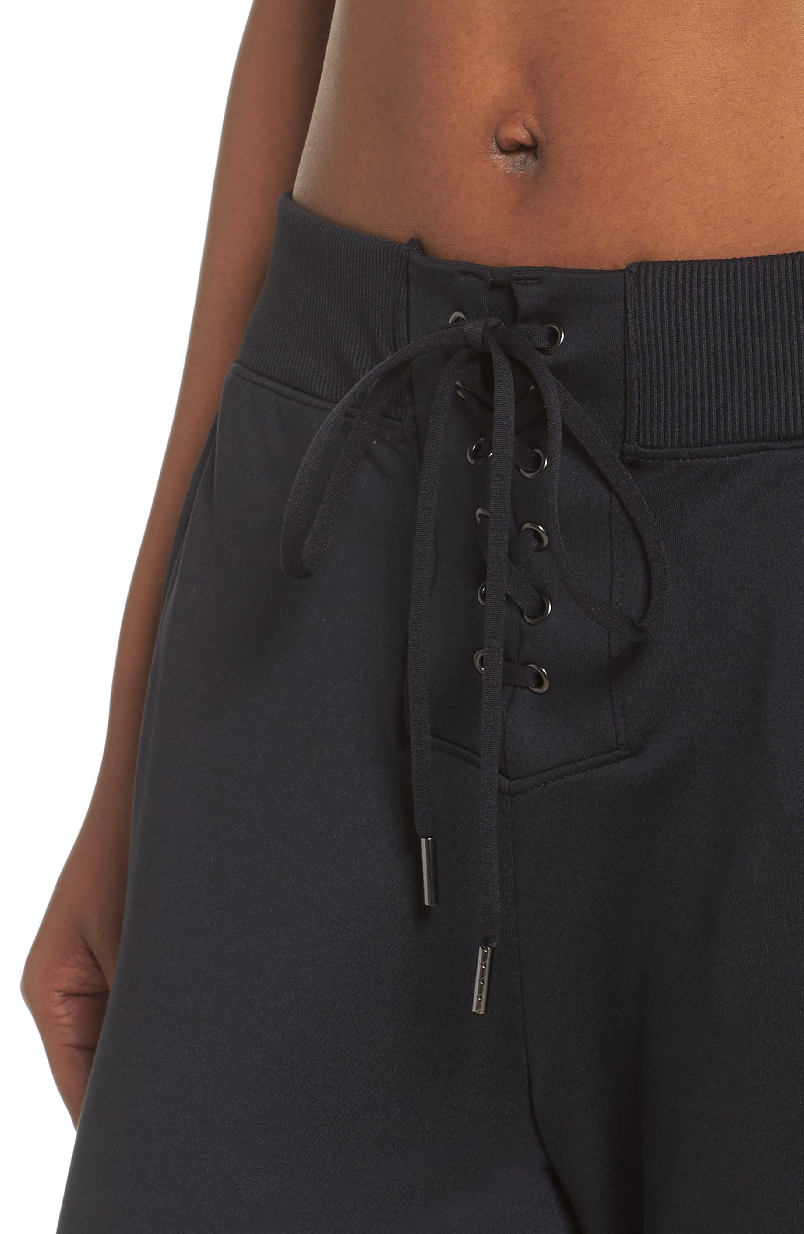 Lace & Repeat Crop Pants,                             Alternate thumbnail 4, color,                             Black