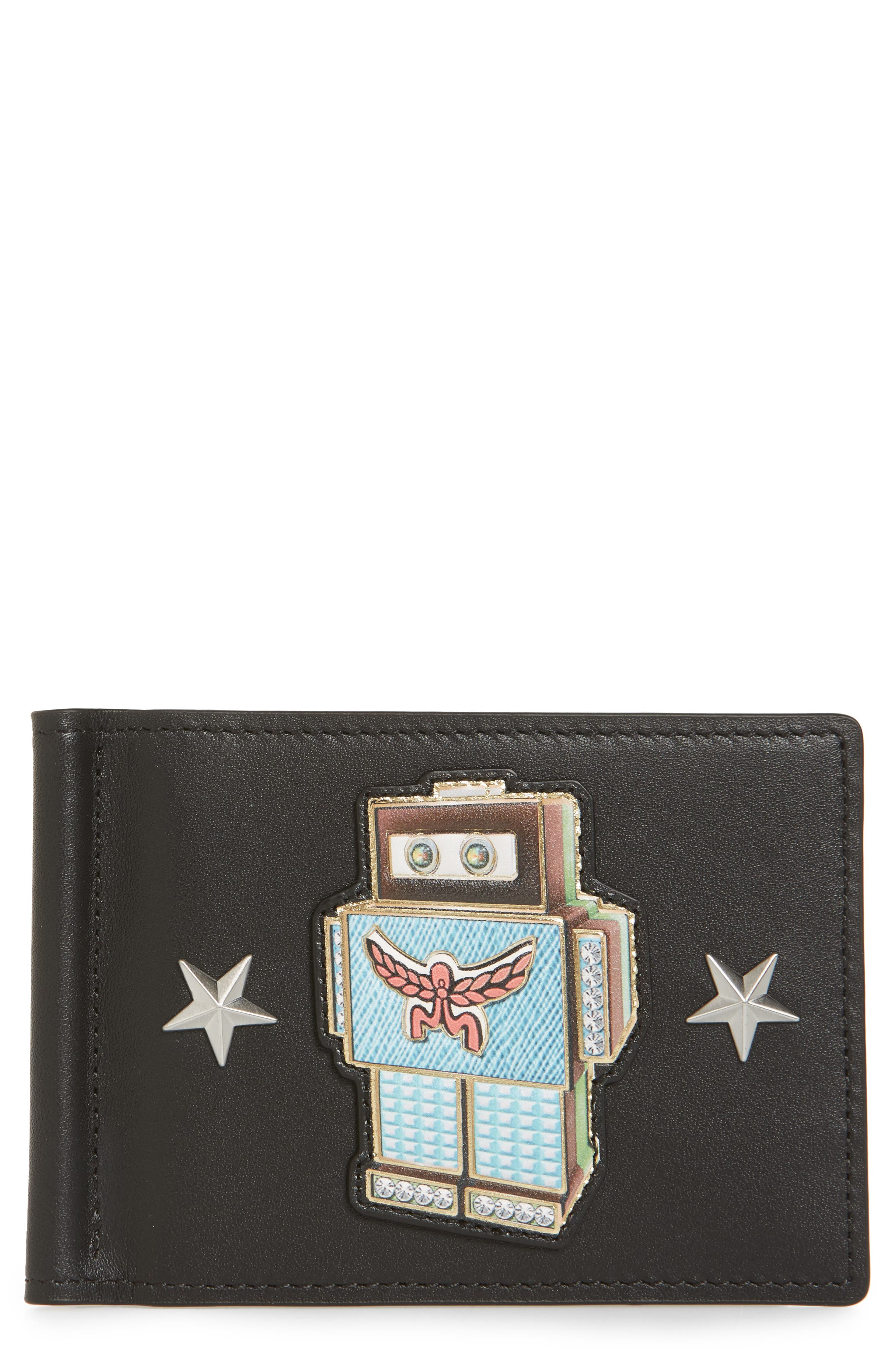 Roboter Series Leather Money Clip Card Case,                             Main thumbnail 1, color,                             Black