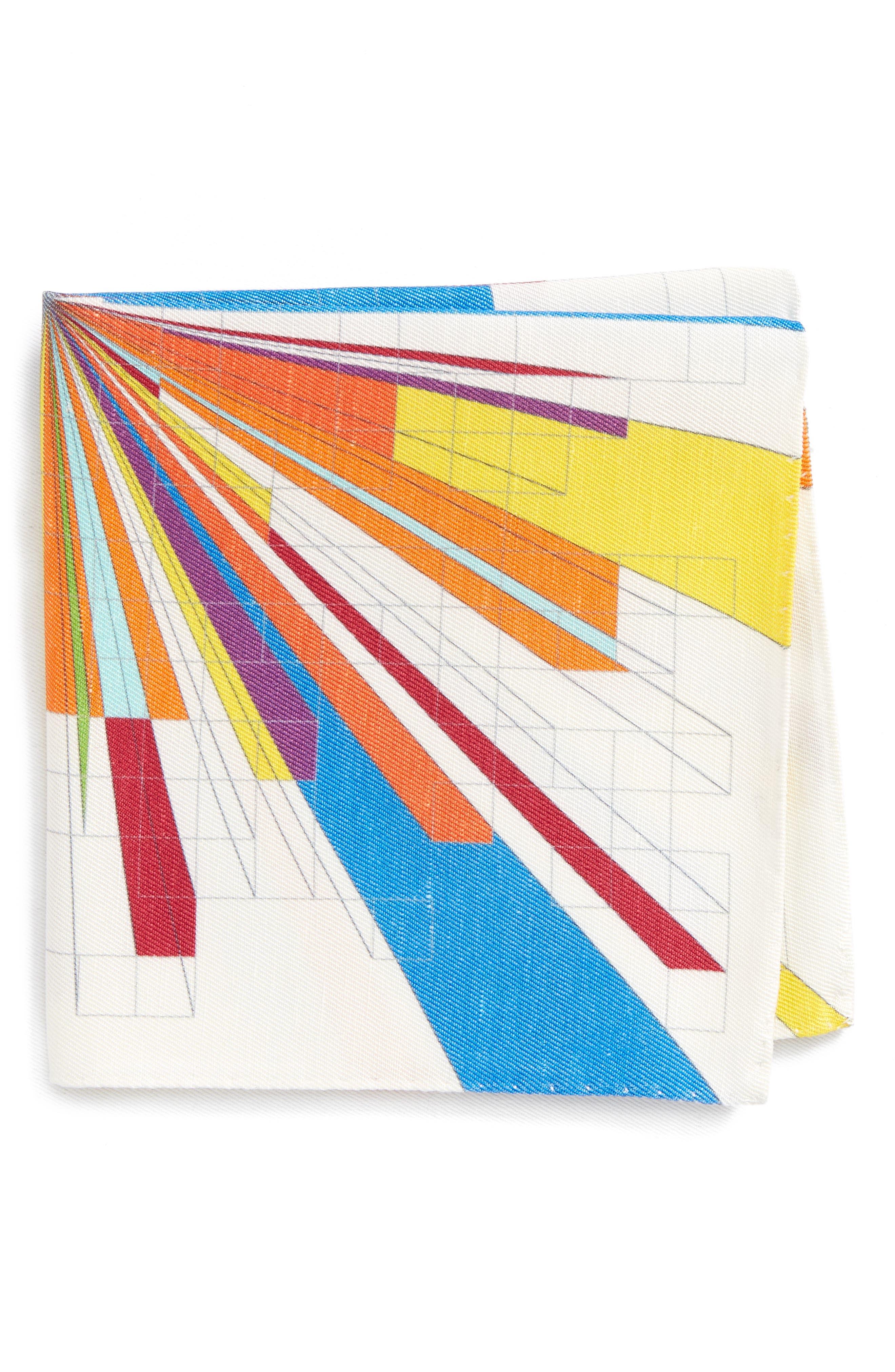 Burst Geometric Linen & Silk Pocket Square,                             Main thumbnail 1, color,                             Multi