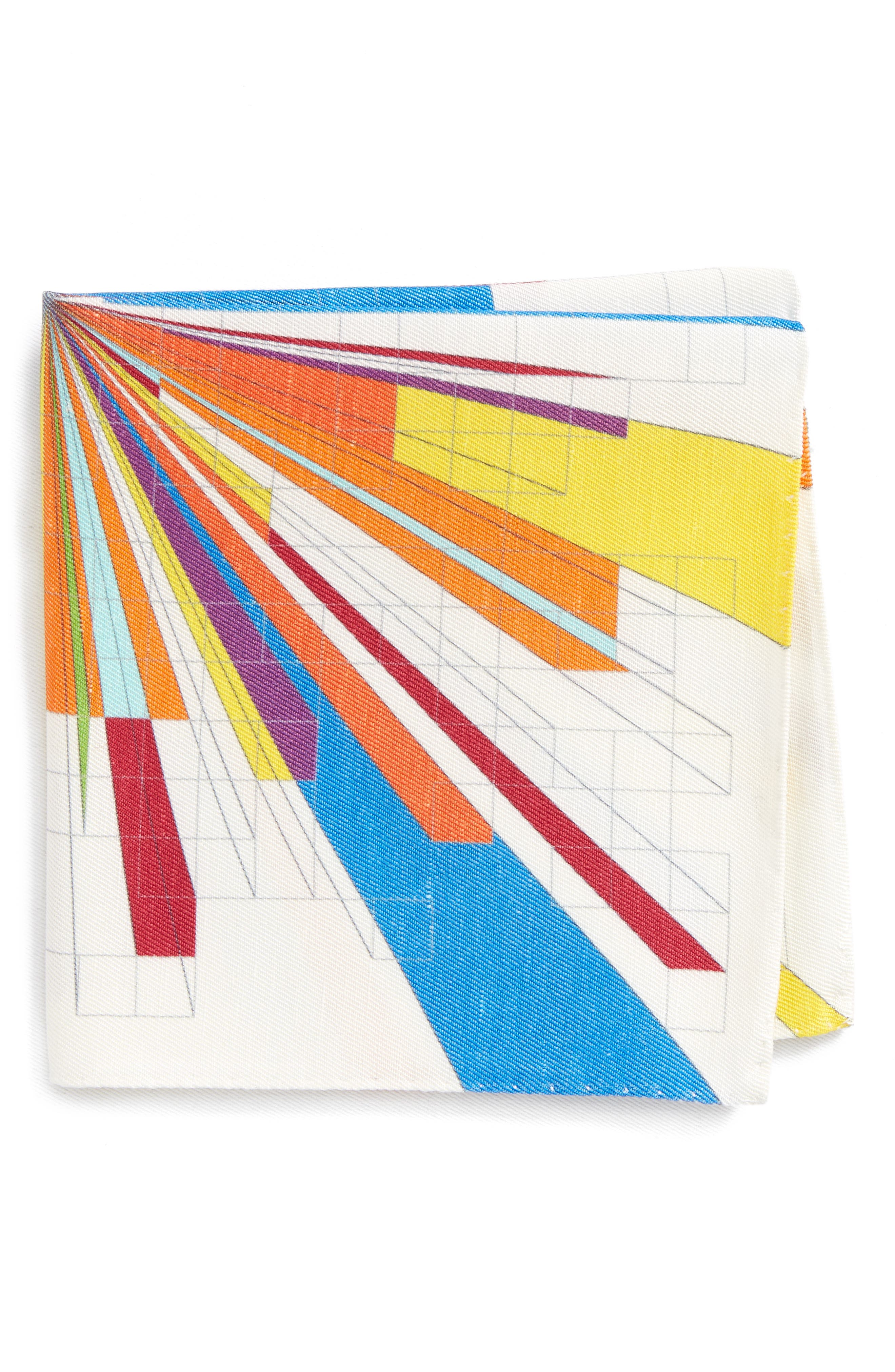 Burst Geometric Linen & Silk Pocket Square,                         Main,                         color, Multi