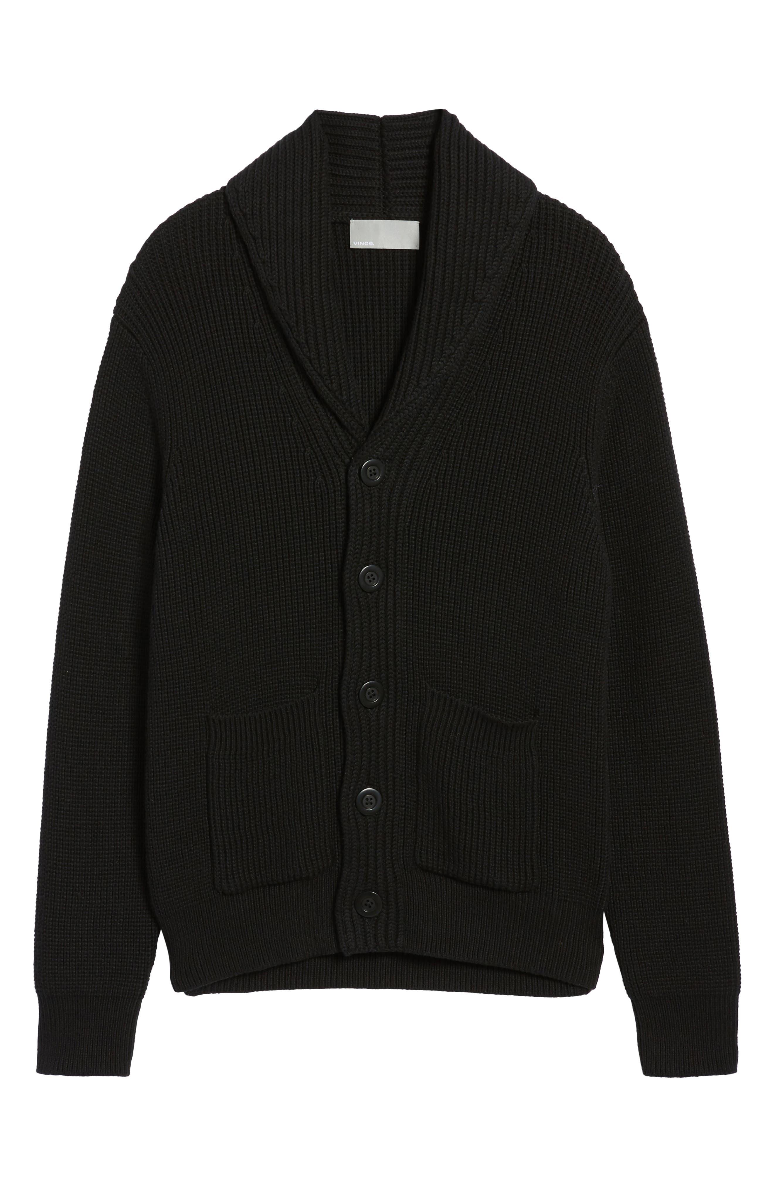 Shawl Collar Cardigan,                             Alternate thumbnail 7, color,                             Black