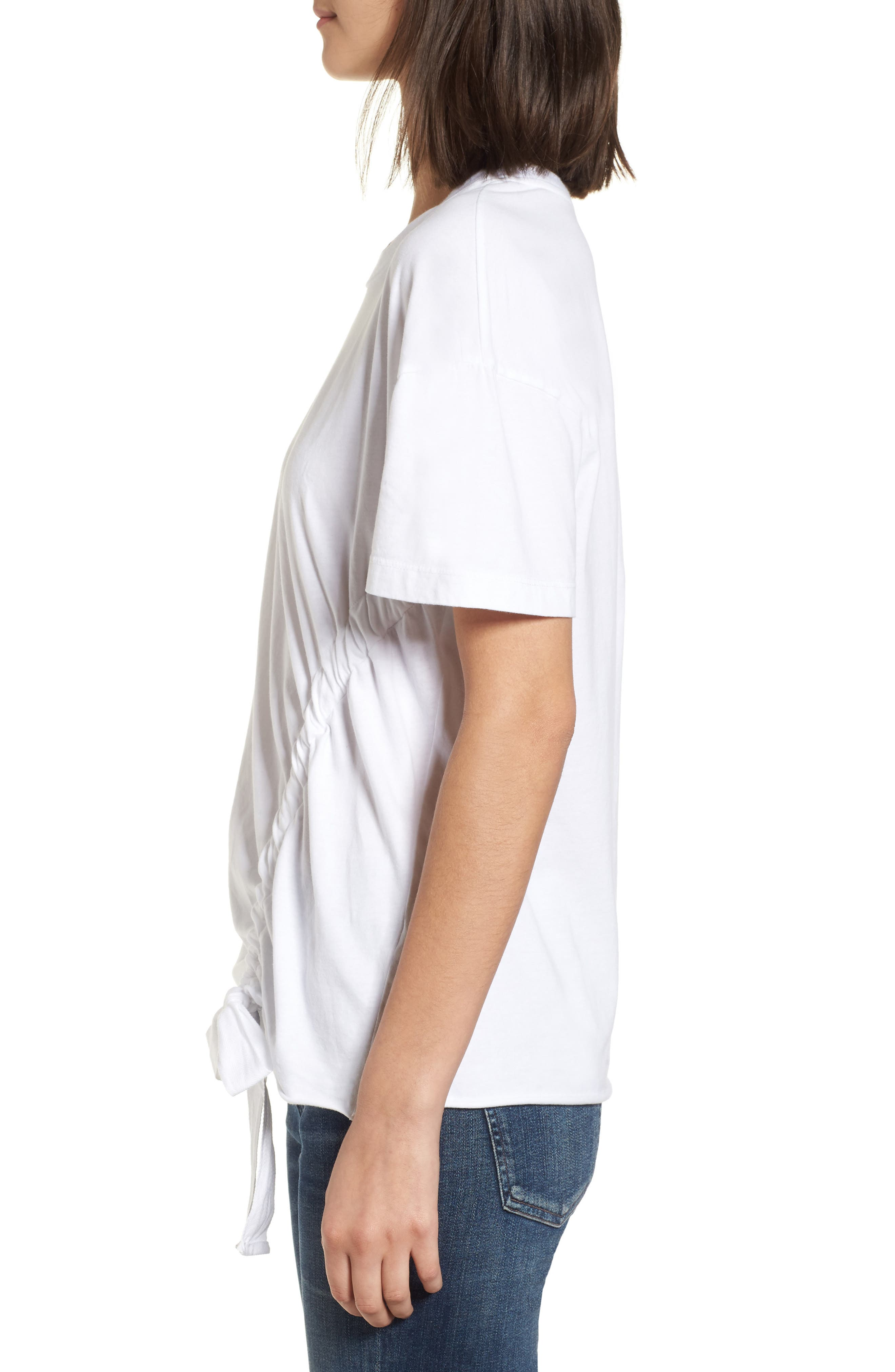 Ruched Brushed Cotton Tee,                             Alternate thumbnail 3, color,                             White
