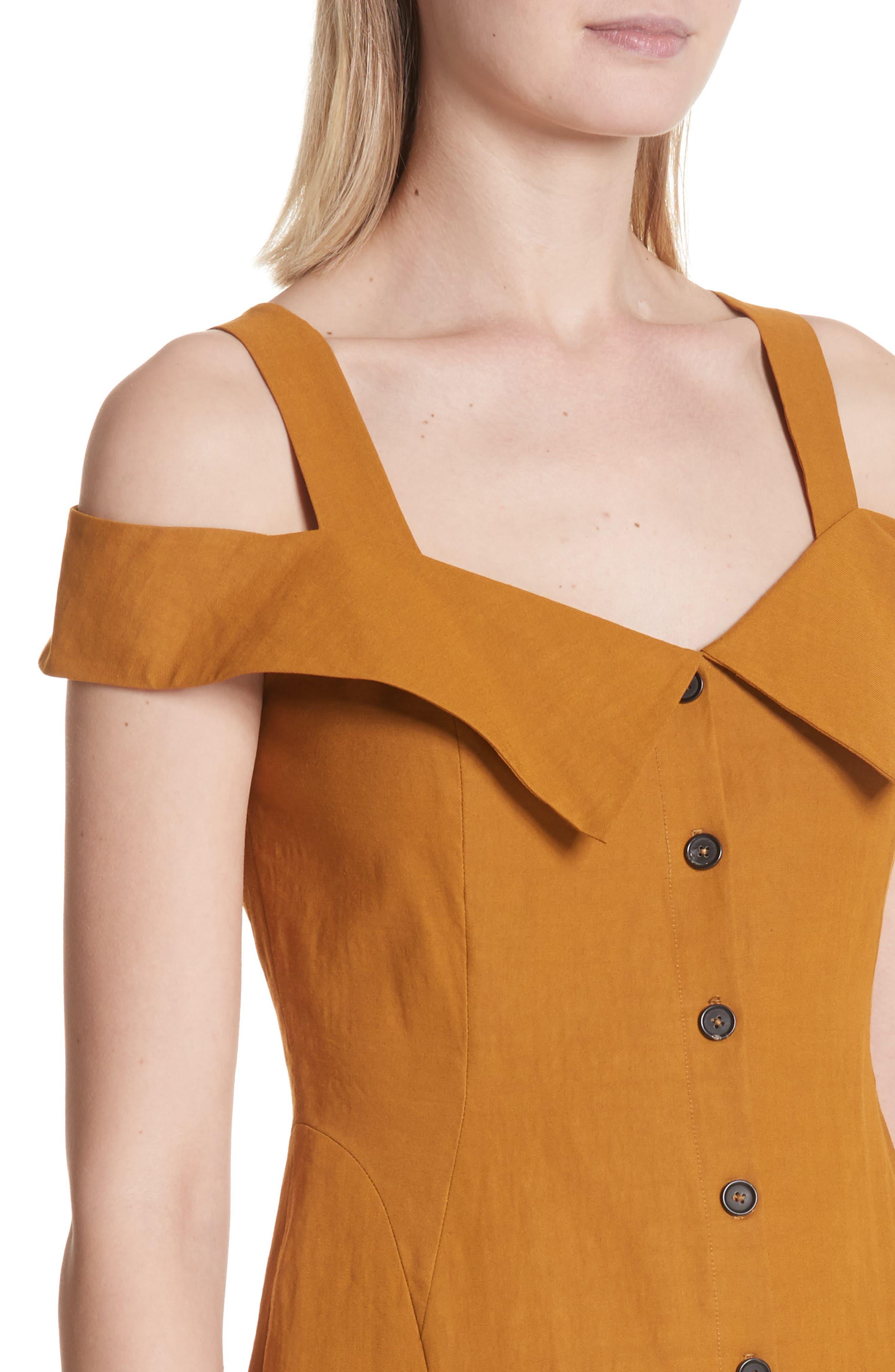 Hudson Cold Shoulder Dress,                             Alternate thumbnail 4, color,                             Gold