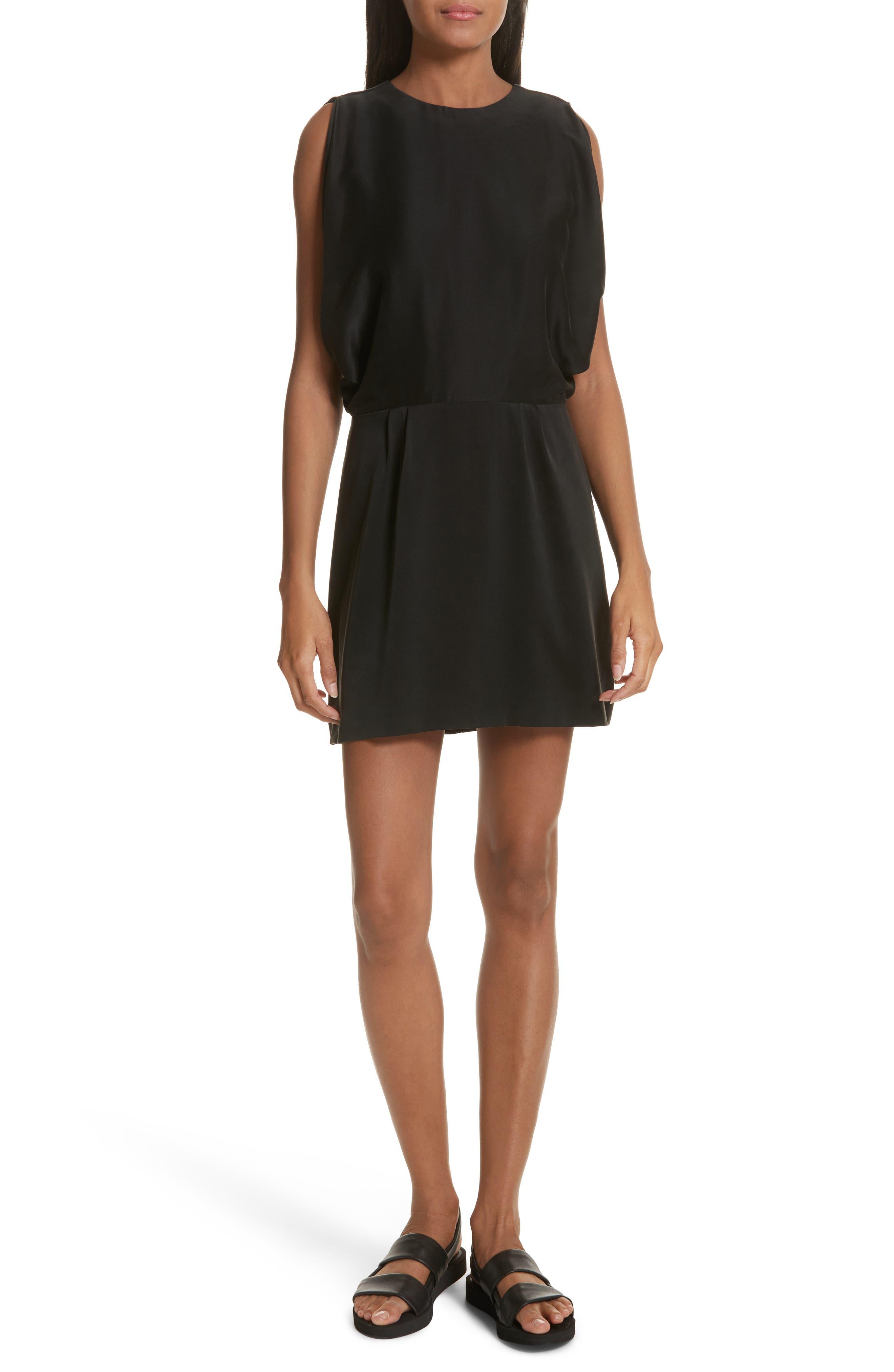 Stone Open Back Silk Dress,                         Main,                         color, Black Multi