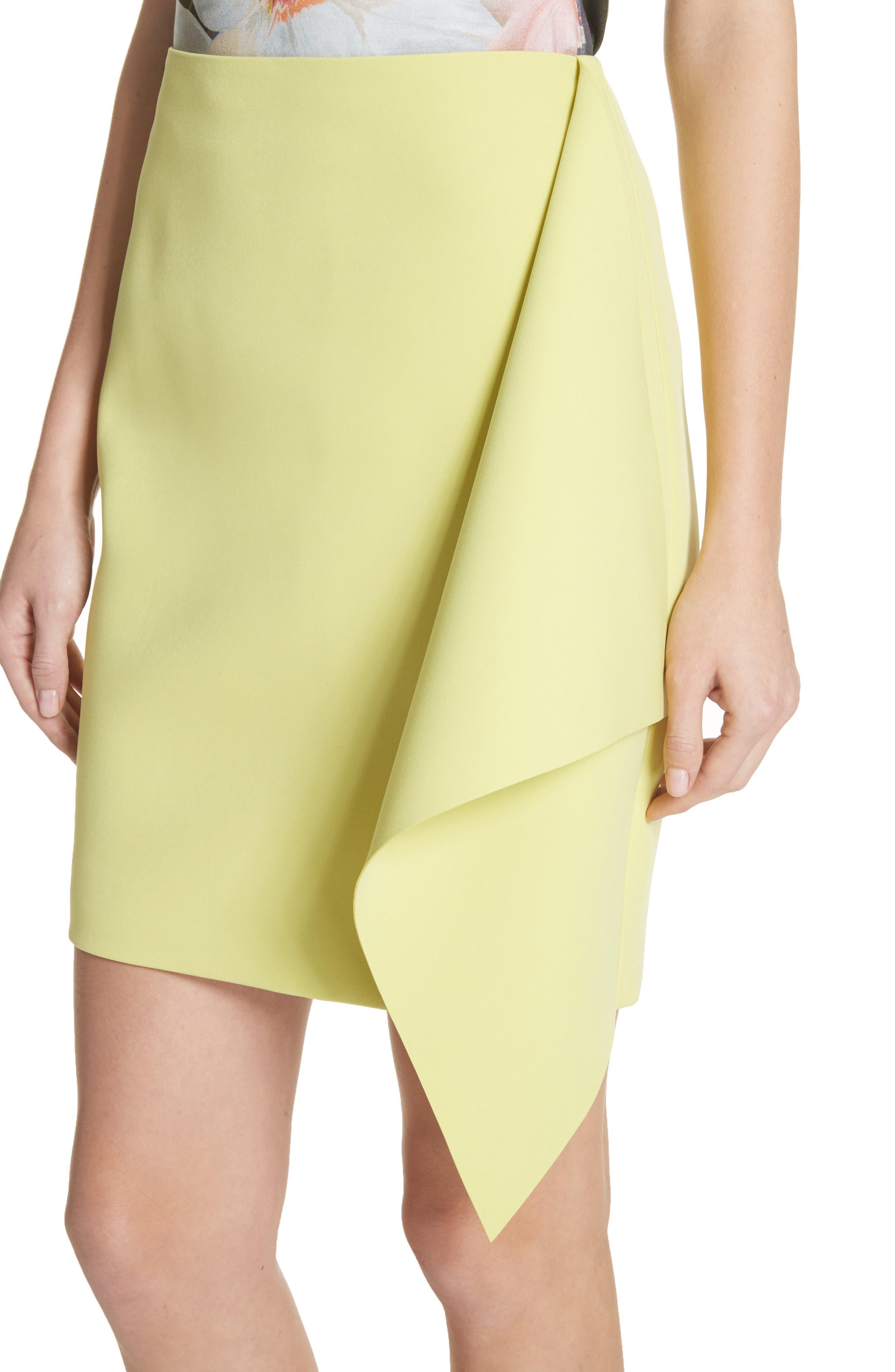 Asymmetrical Frill Pencil Skirt,                             Alternate thumbnail 5, color,                             Lime