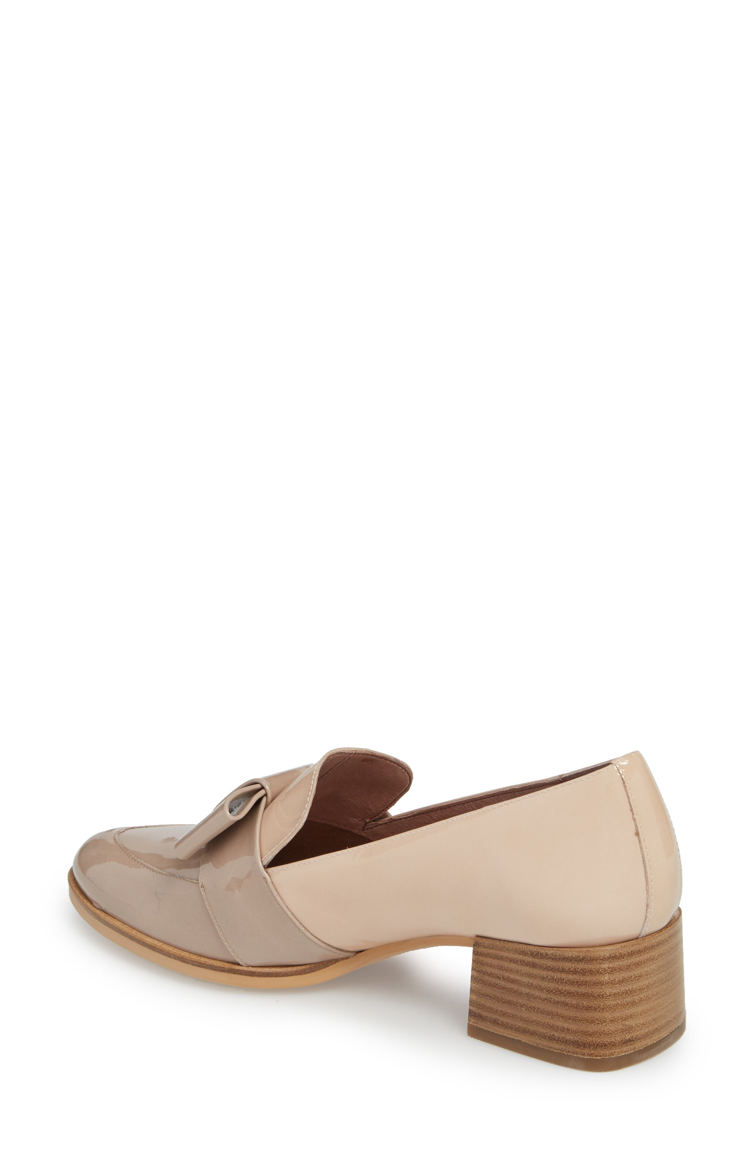 Block Heel Loafer Pump,                             Alternate thumbnail 2, color,                             Taupe/ Palo Patent Leather