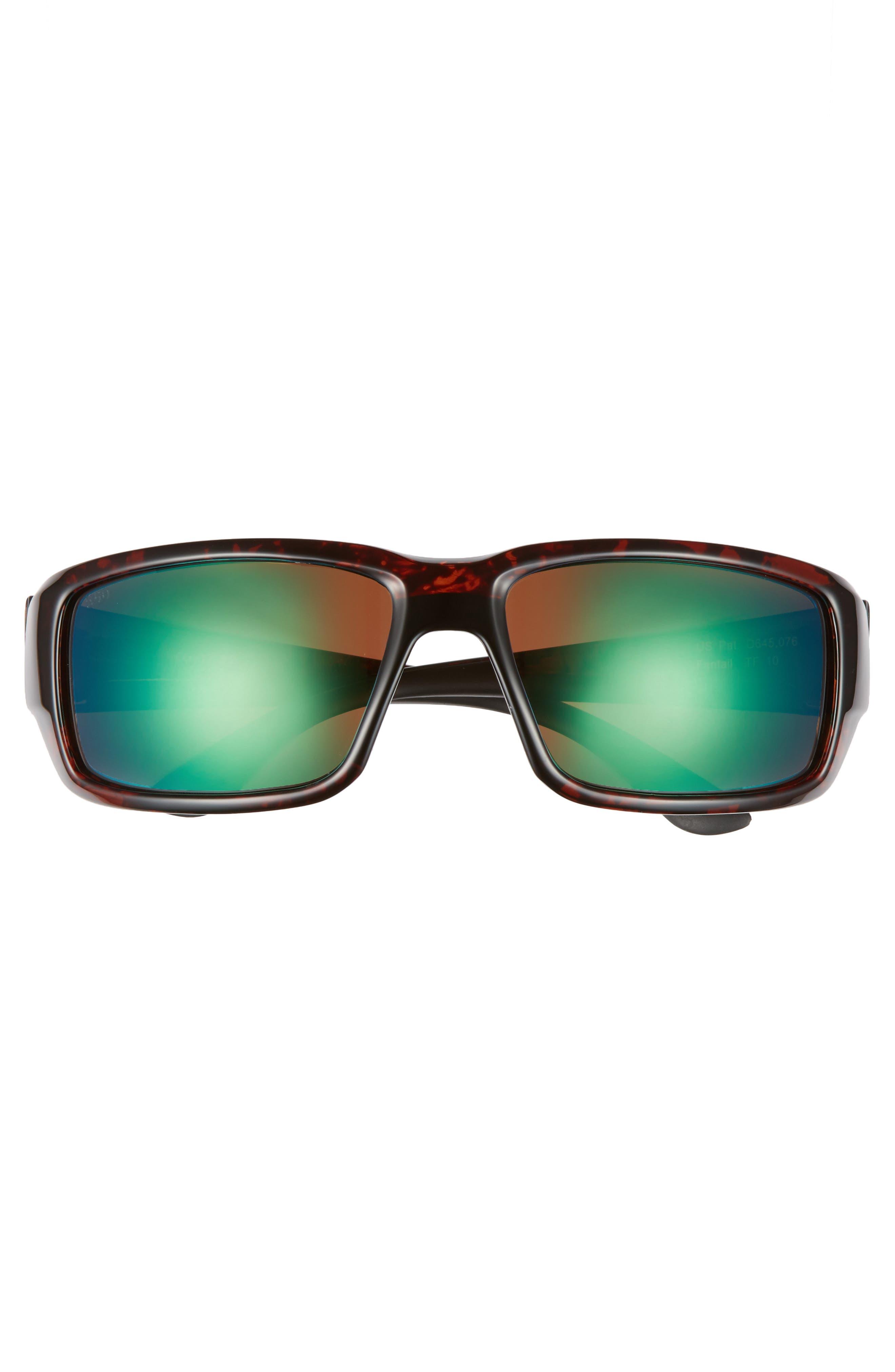 Fantail 60mm Polarized Sunglasses,                             Alternate thumbnail 2, color,                             Tortoise/ Green Mirror