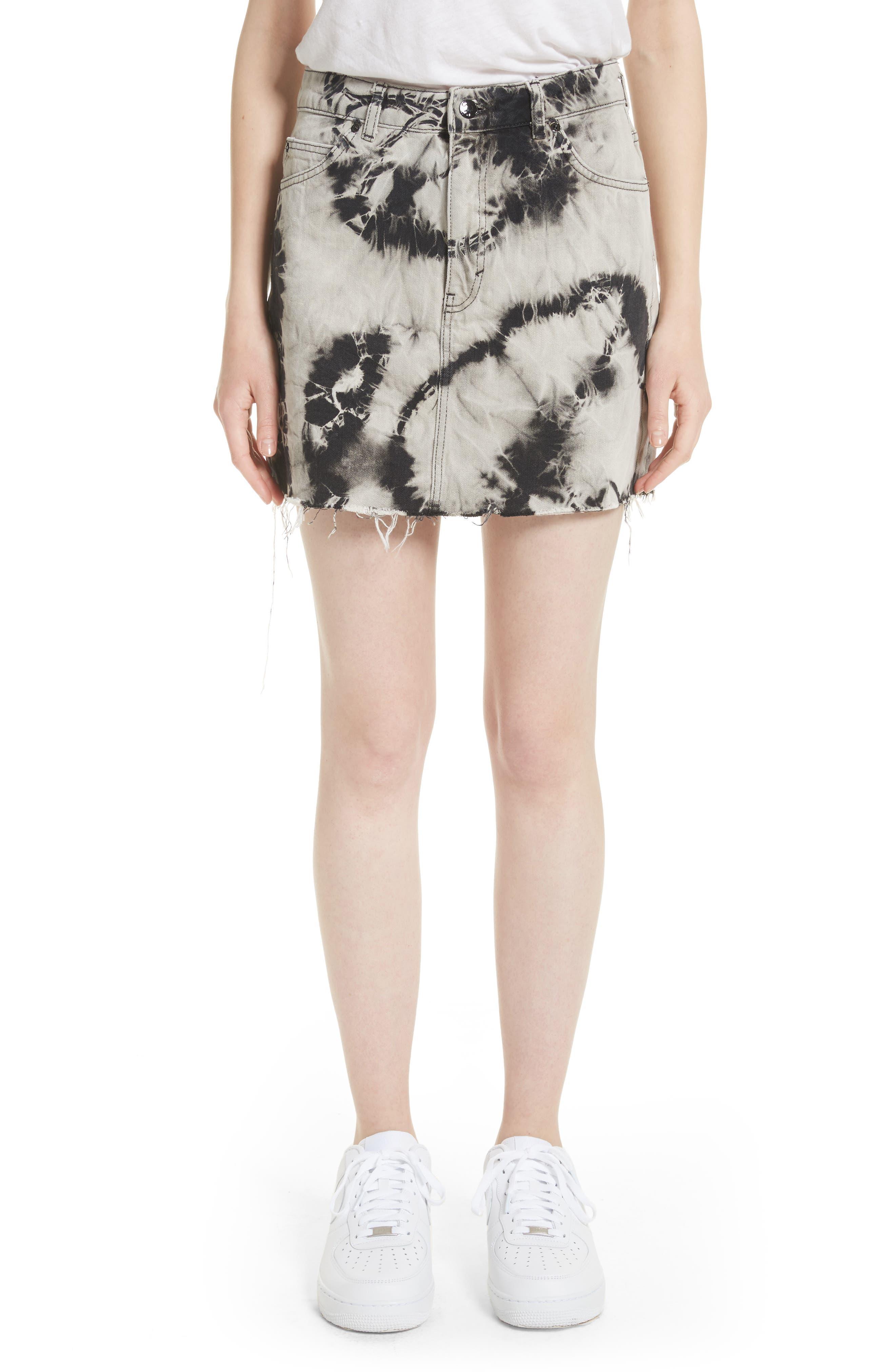 Main Image - Ashley Williams Stephanie Tie Dye Denim Miniskirt
