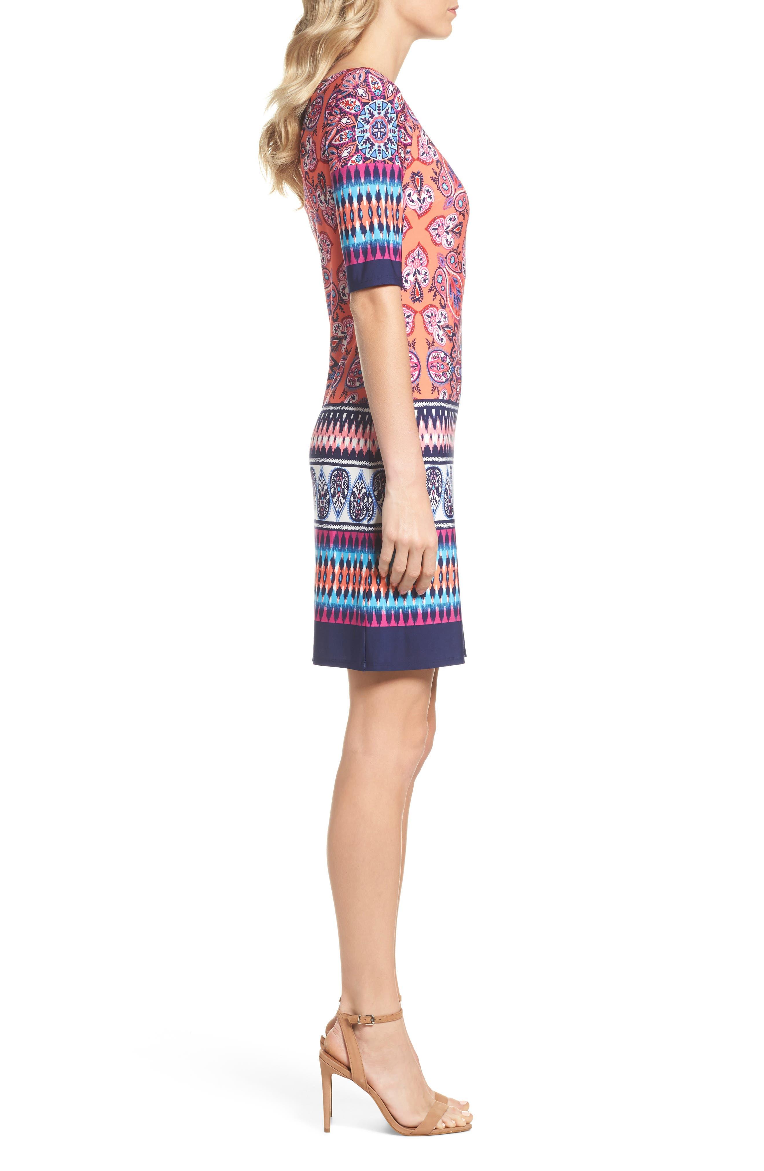 Print Sheath Dress,                             Alternate thumbnail 3, color,                             Red/ Pink